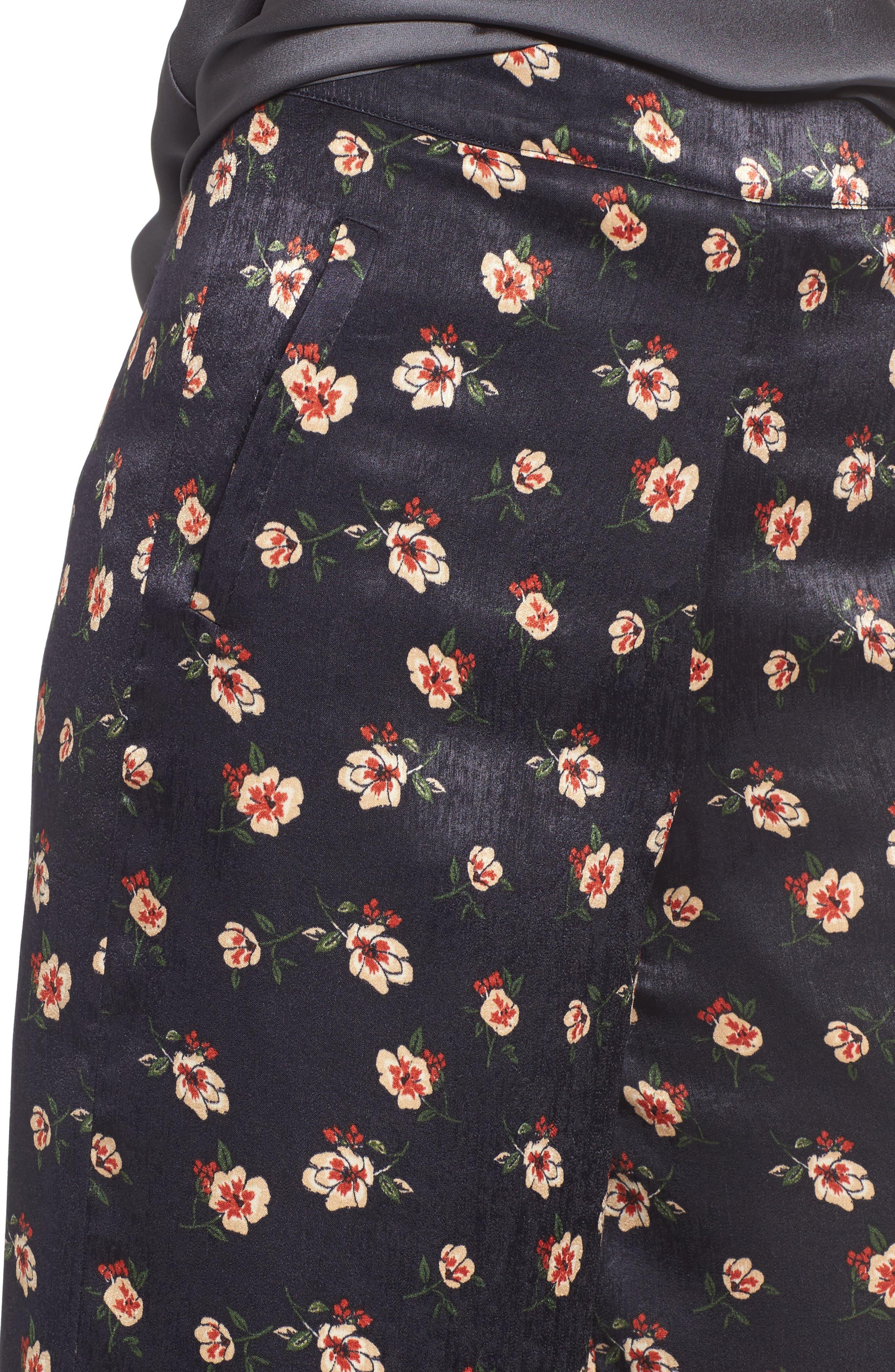 Floral Wide Leg Pants,                             Alternate thumbnail 4, color,                             498