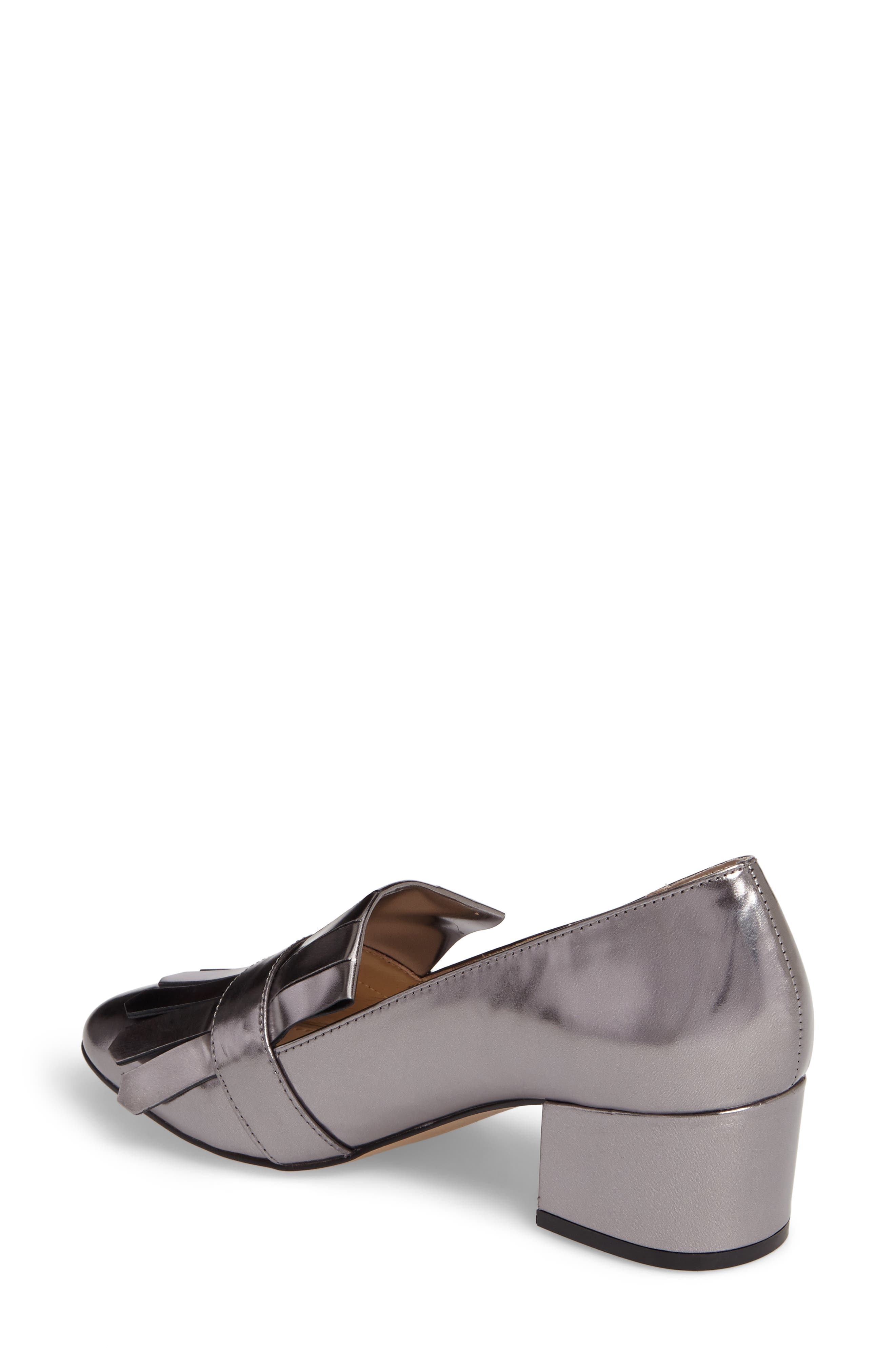 Olive Loafer Pump,                             Alternate thumbnail 2, color,                             PEWTER LEATHER