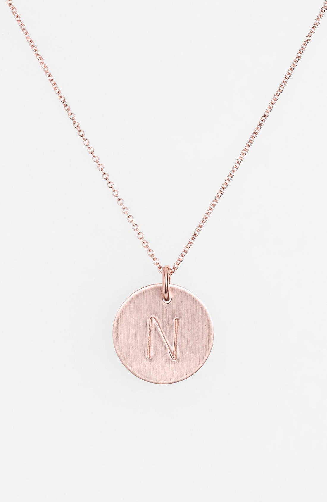 14k-Rose Gold Fill Initial Disc Necklace,                             Main thumbnail 14, color,