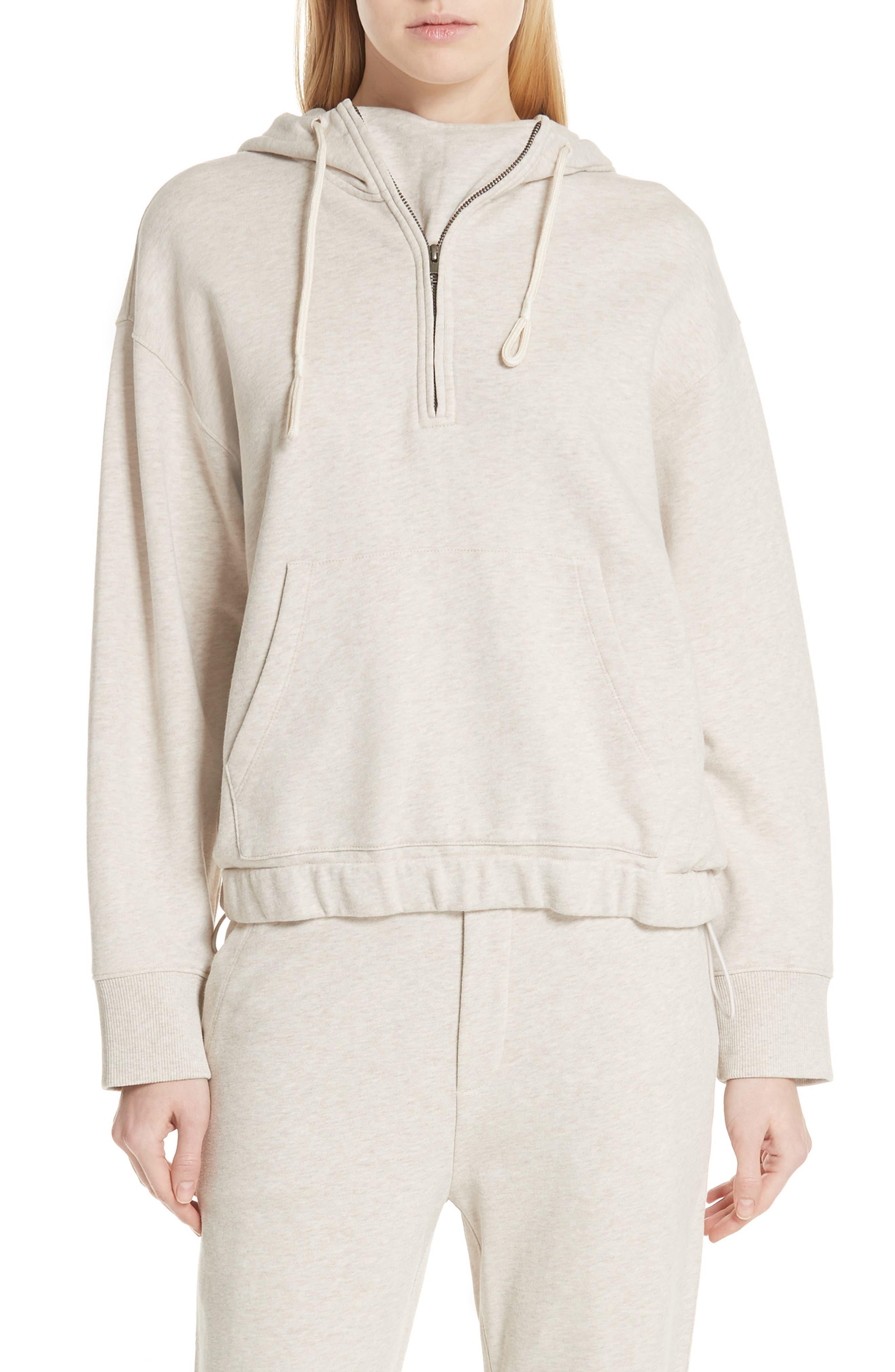 Half Zip Cotton Hoodie Sweatshirt,                         Main,                         color, H BURLAP