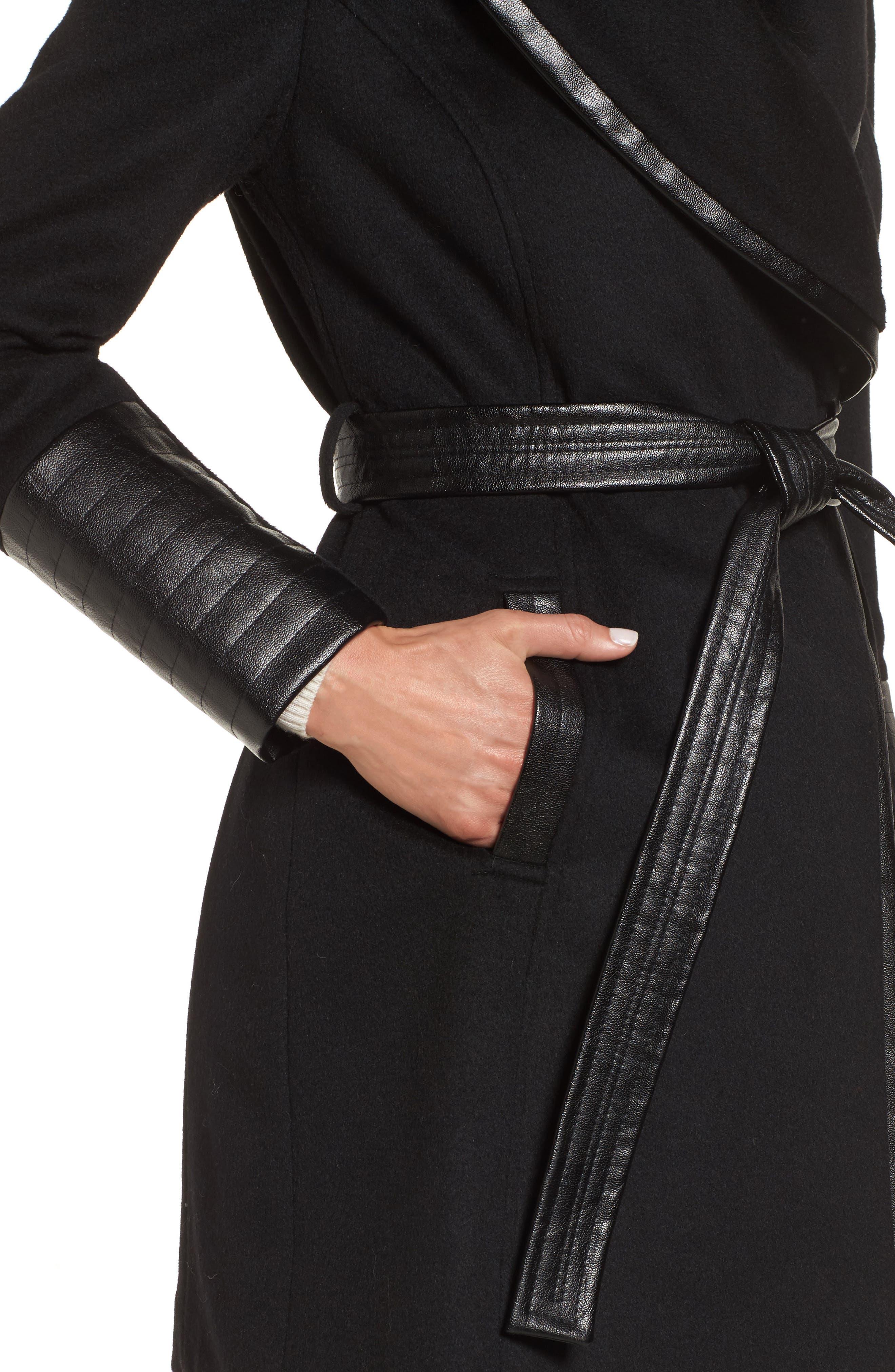Wool Blend Coat,                             Alternate thumbnail 4, color,                             BLACK