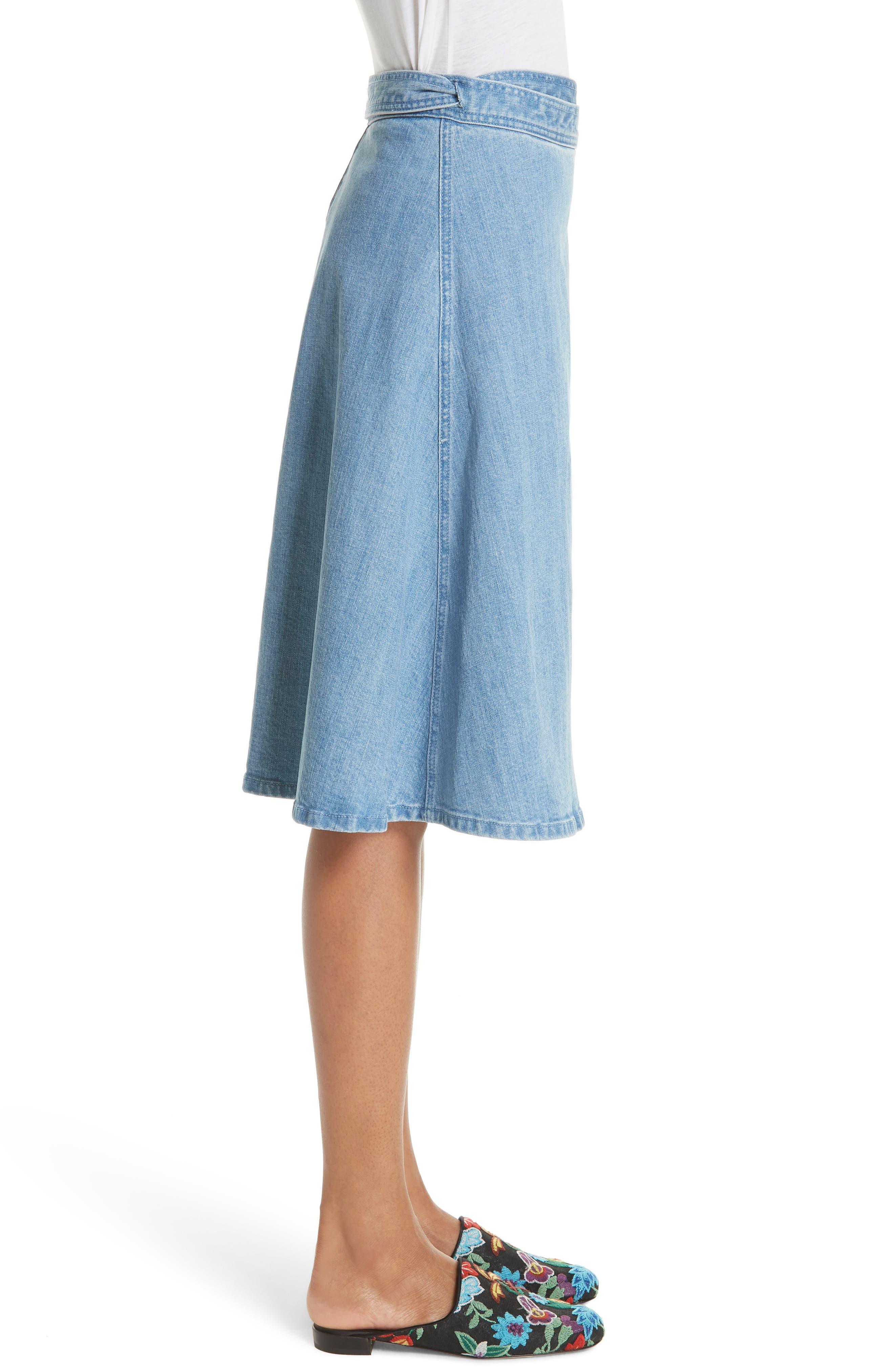 vintage stretch denim wrap skirt,                             Alternate thumbnail 3, color,                             429