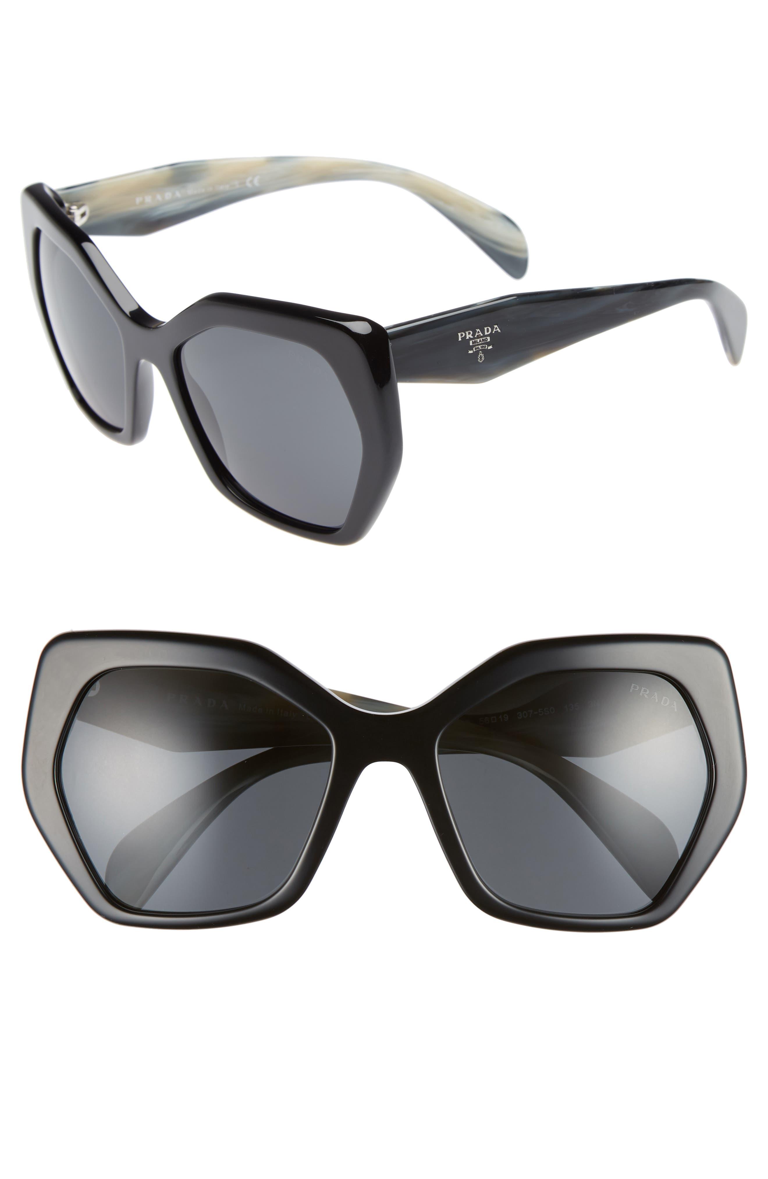 Heritage 56mm Sunglasses,                             Main thumbnail 1, color,                             BLACK SOLID