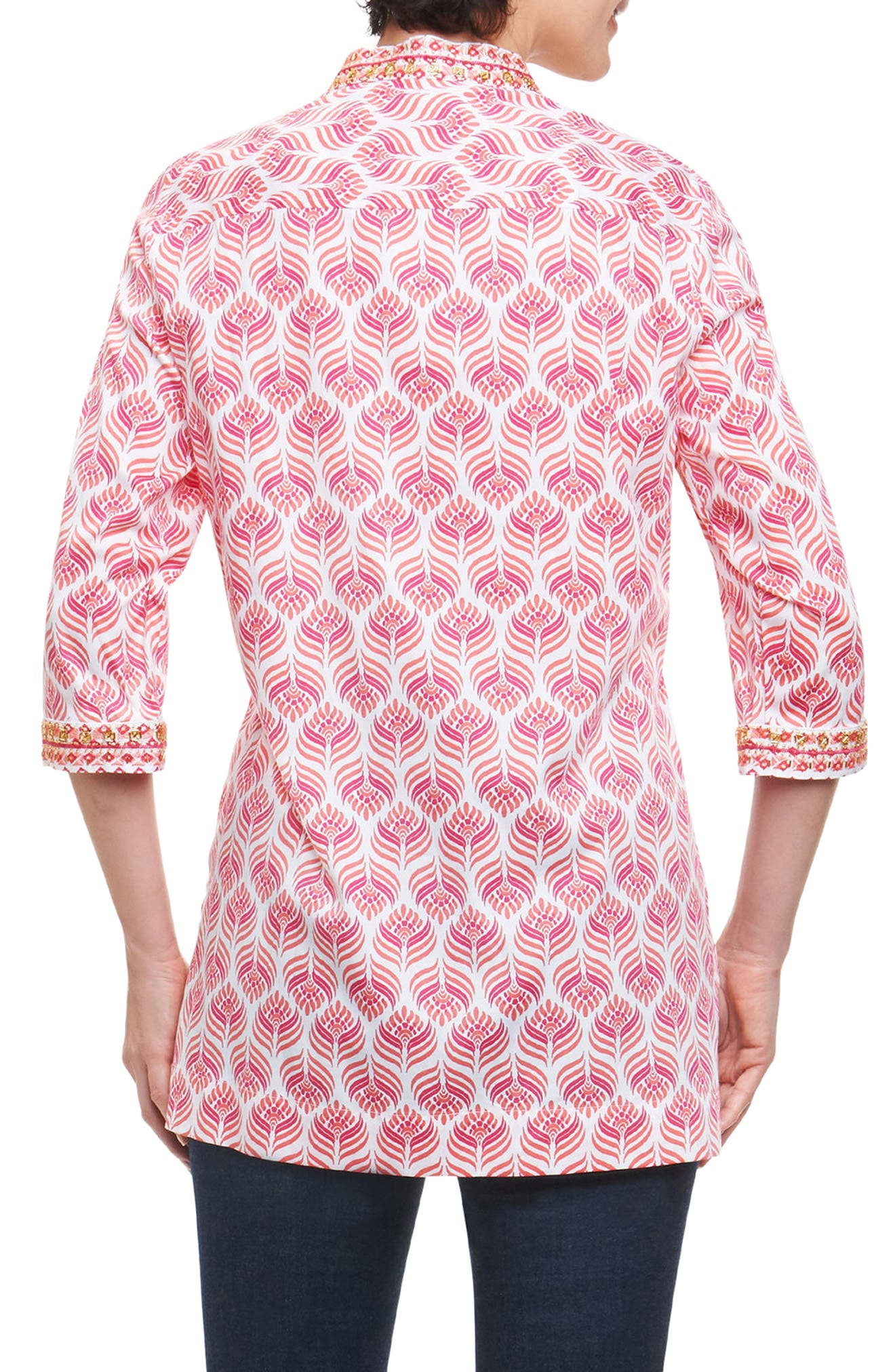 Angelica Embellished Block Print Tunic,                             Alternate thumbnail 2, color,