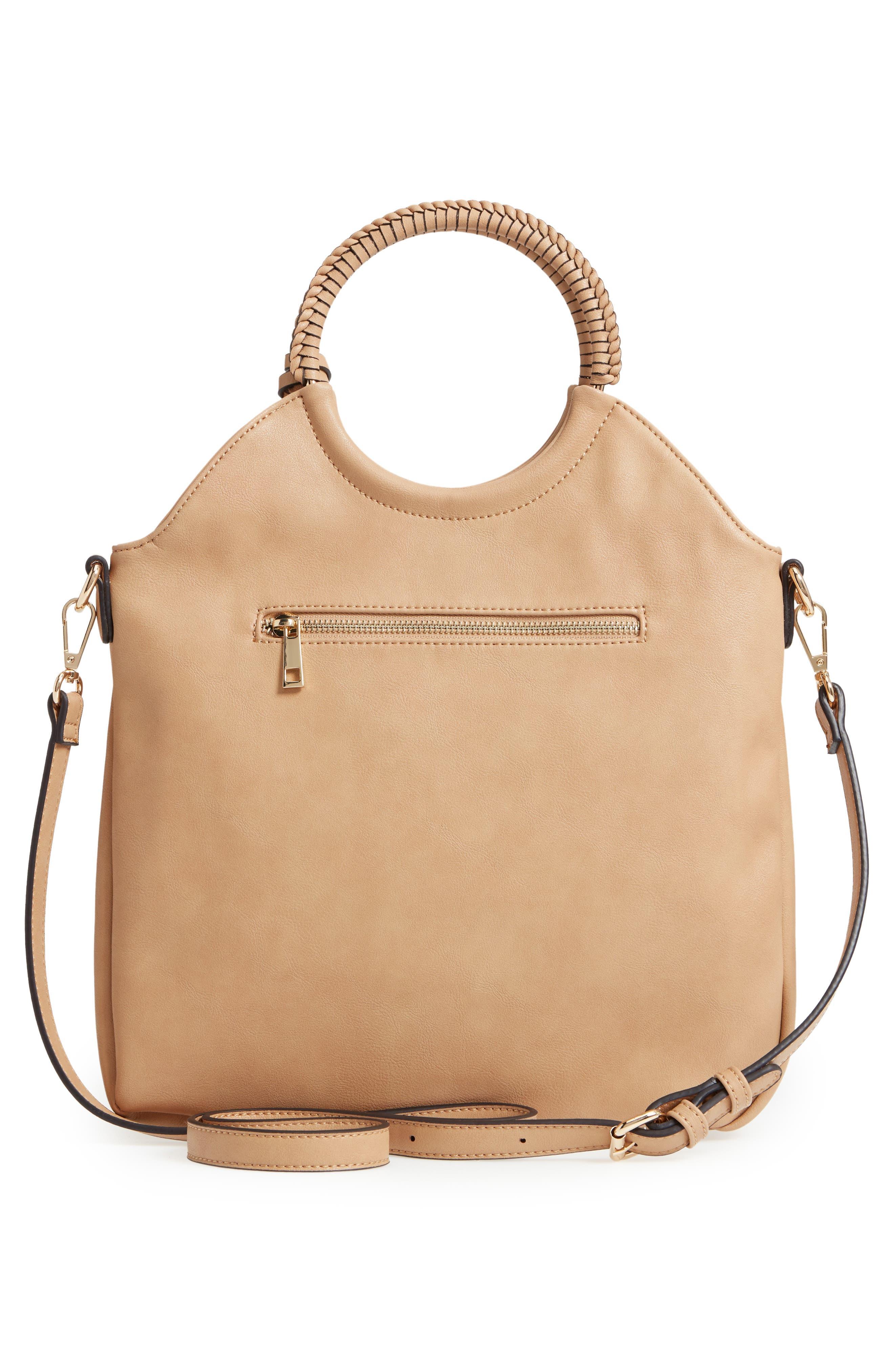 Faux Leather Bracelet Bag,                             Alternate thumbnail 3, color,                             SAFARI
