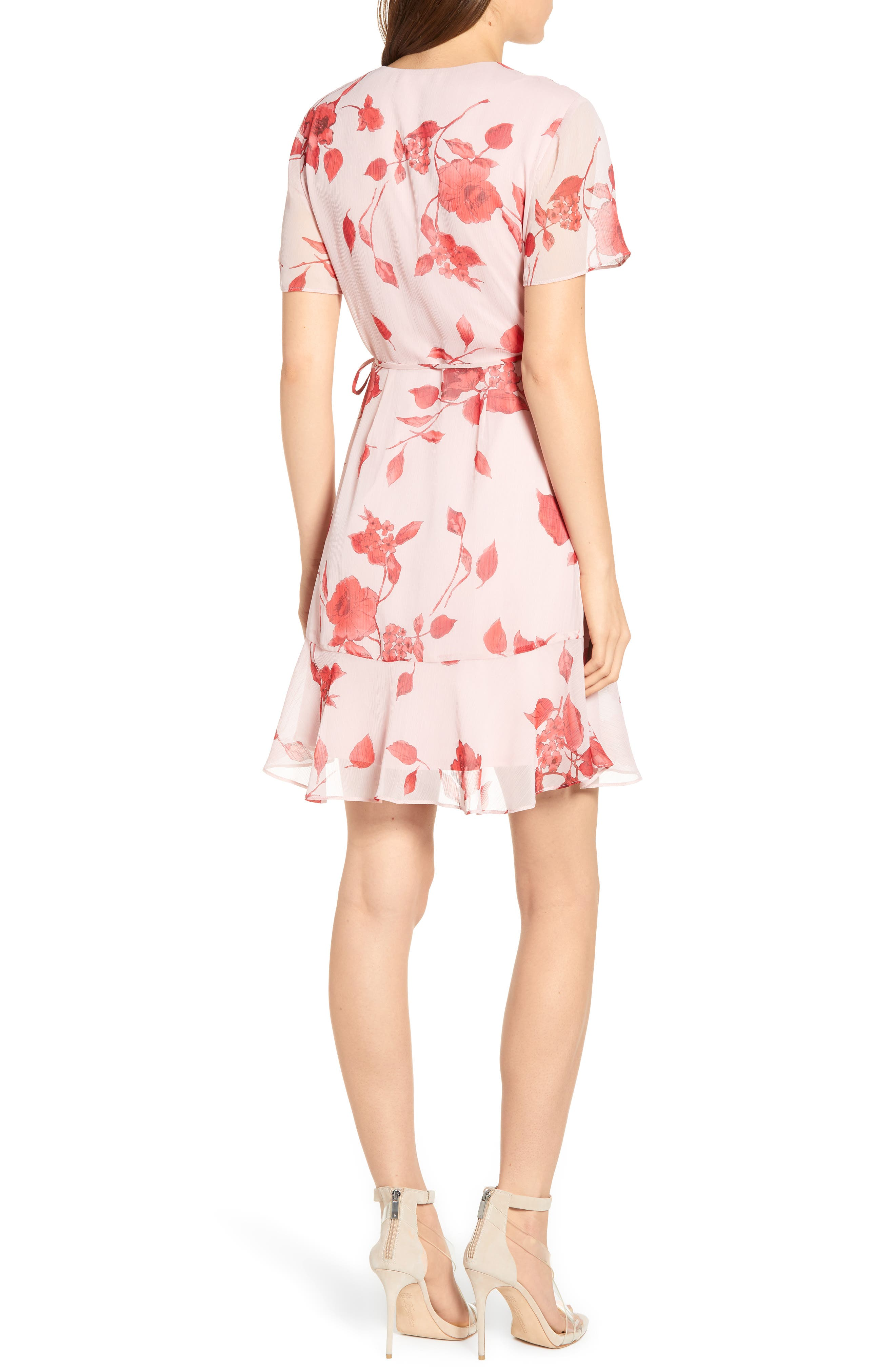 ALL IN FAVOR,                             Isabella Wrap Dress,                             Alternate thumbnail 2, color,                             RED PAINTED FLORAL