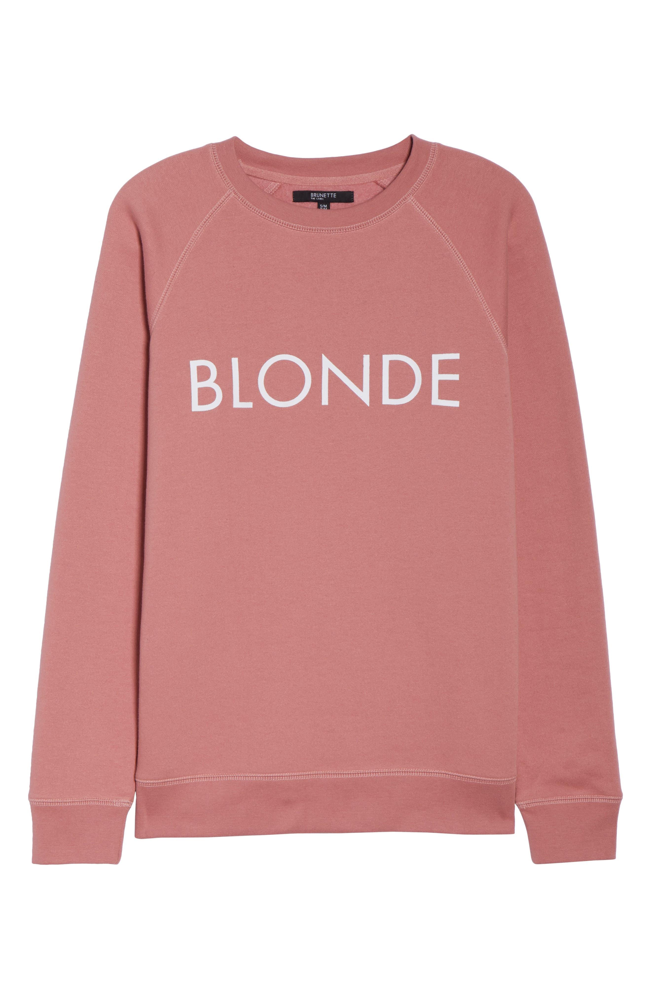Blonde Crewneck Sweatshirt,                             Alternate thumbnail 6, color,