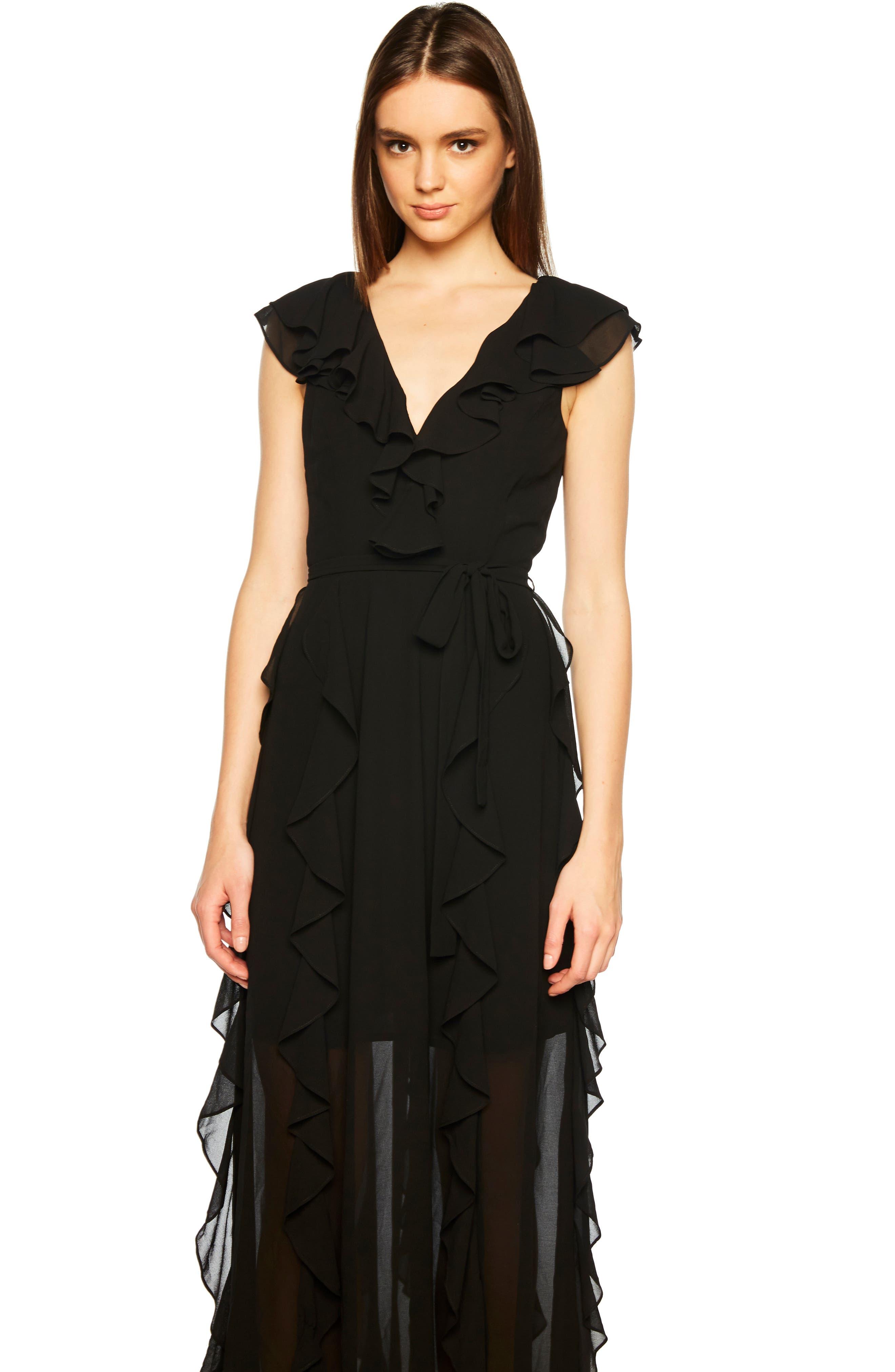 Emily Frill Maxi Dress,                             Alternate thumbnail 5, color,                             BLACK