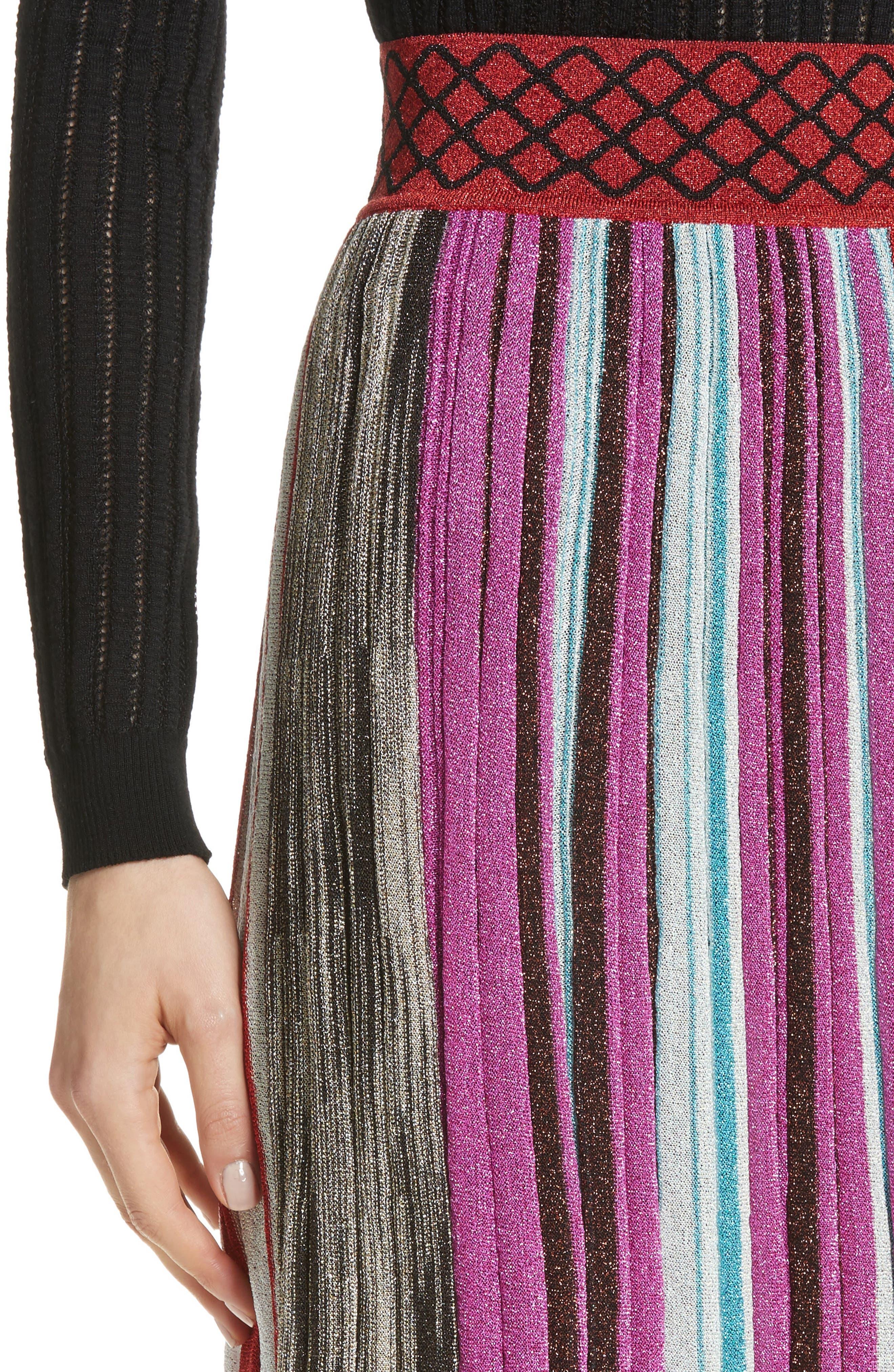 Metallic Stripe Skirt,                             Alternate thumbnail 4, color,                             640