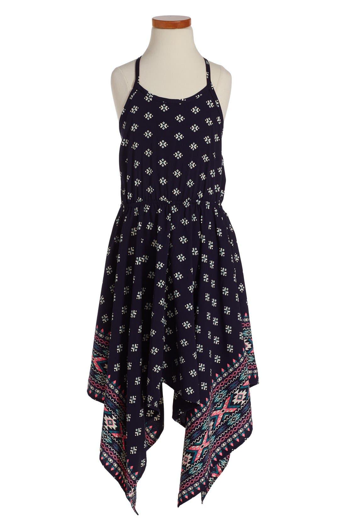 Print Handkerchief Dress,                         Main,                         color, NAVY/ PINK