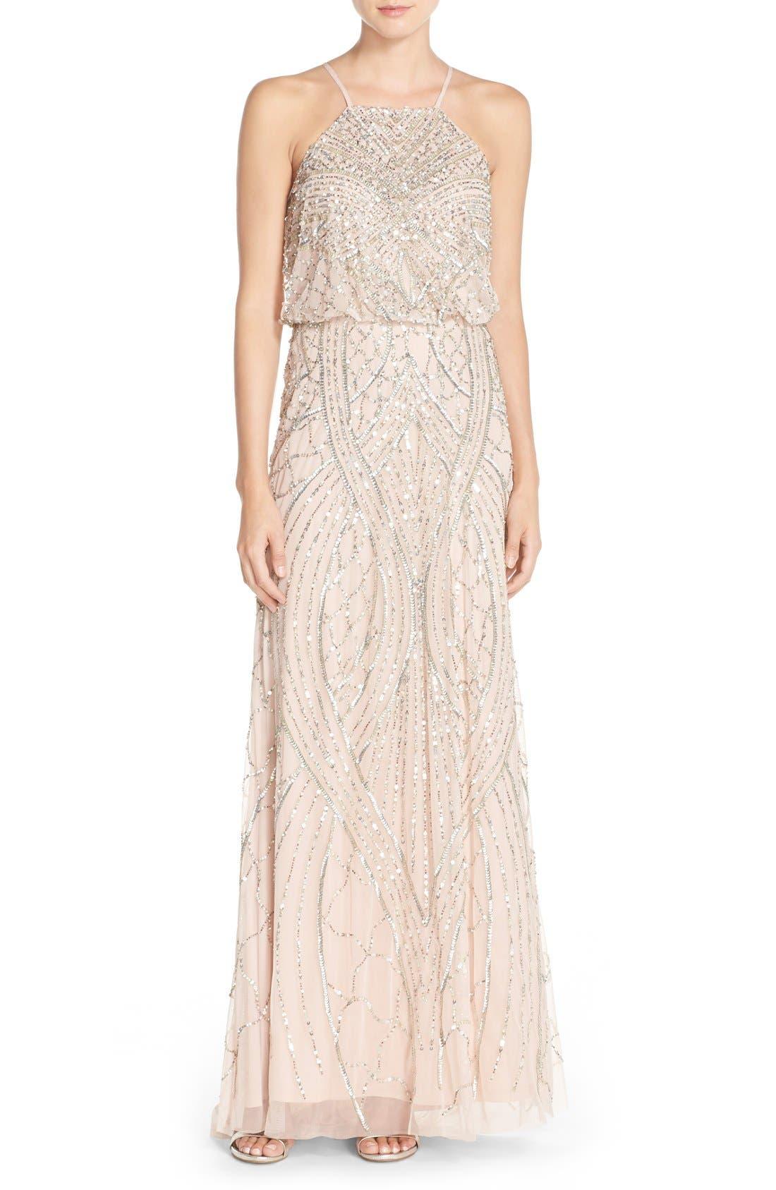 Sequin Chiffon Blouson Gown,                             Main thumbnail 1, color,                             684