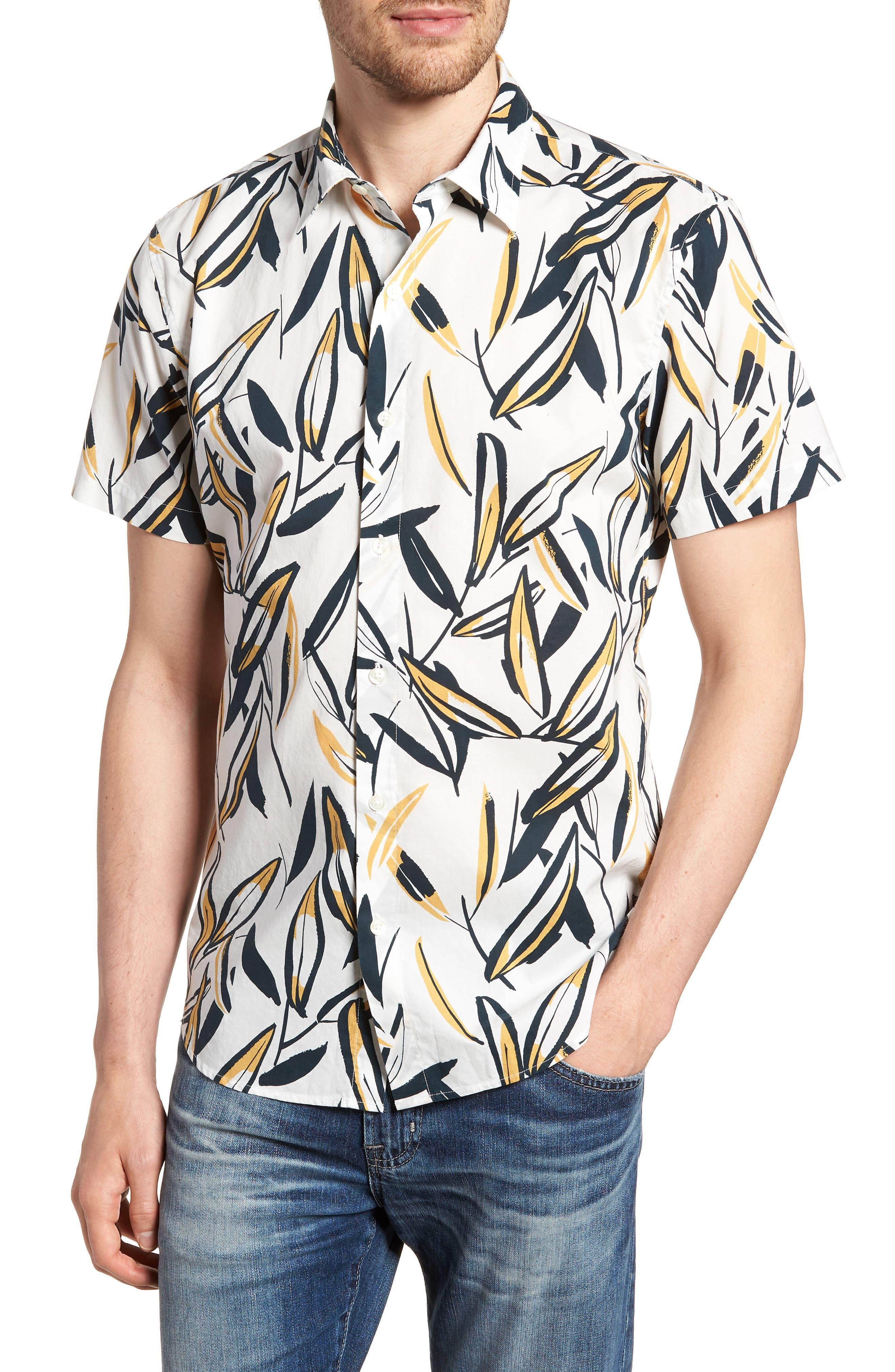 Riviera Slim Fit Leafy Print Sport Shirt,                         Main,                         color, 100