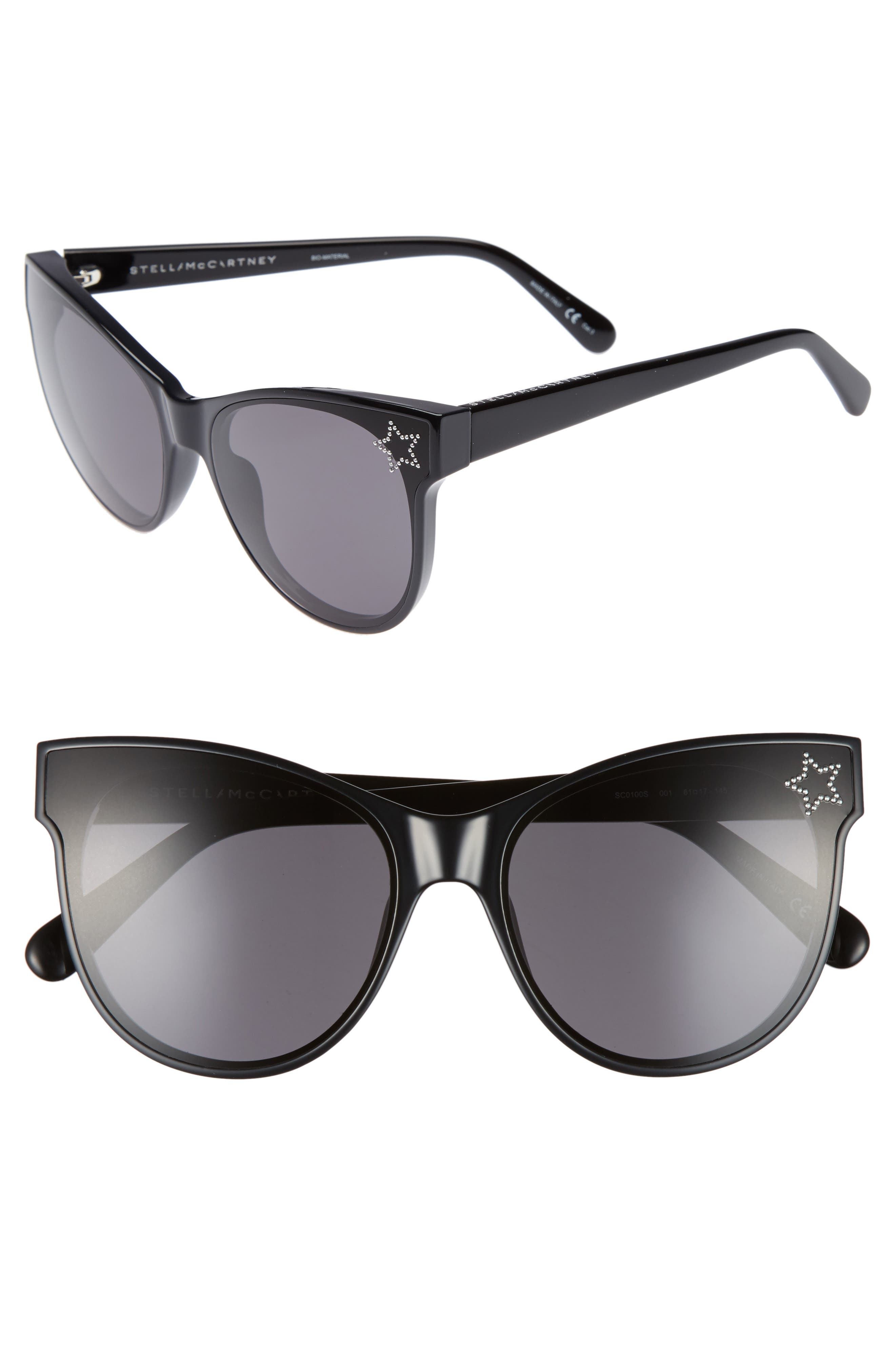 61mm Cat Eye Sunglasses,                         Main,                         color, BLACK