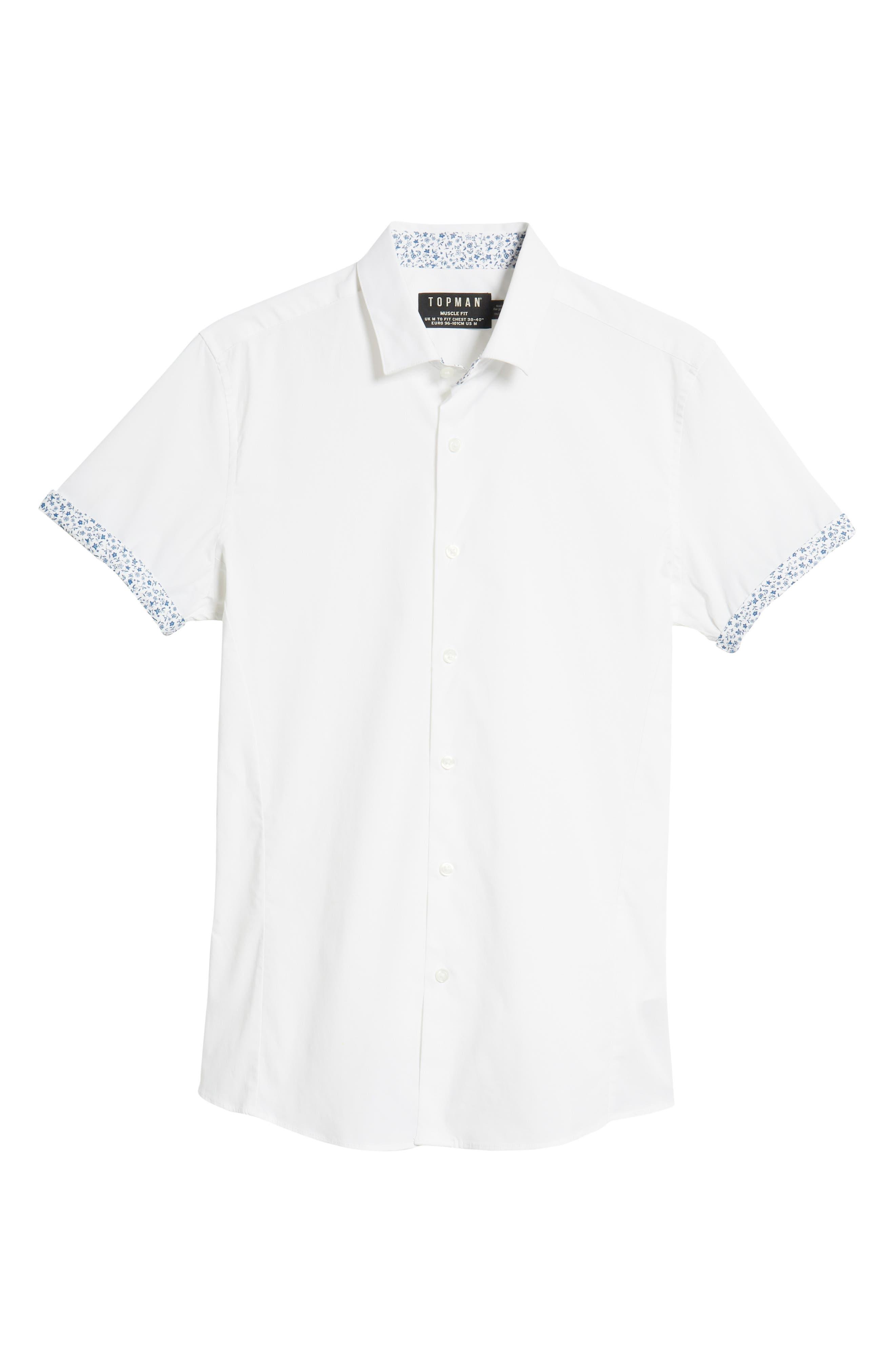 Slim Fit Flower Cuff Shirt,                             Alternate thumbnail 5, color,                             WHITE MULTI
