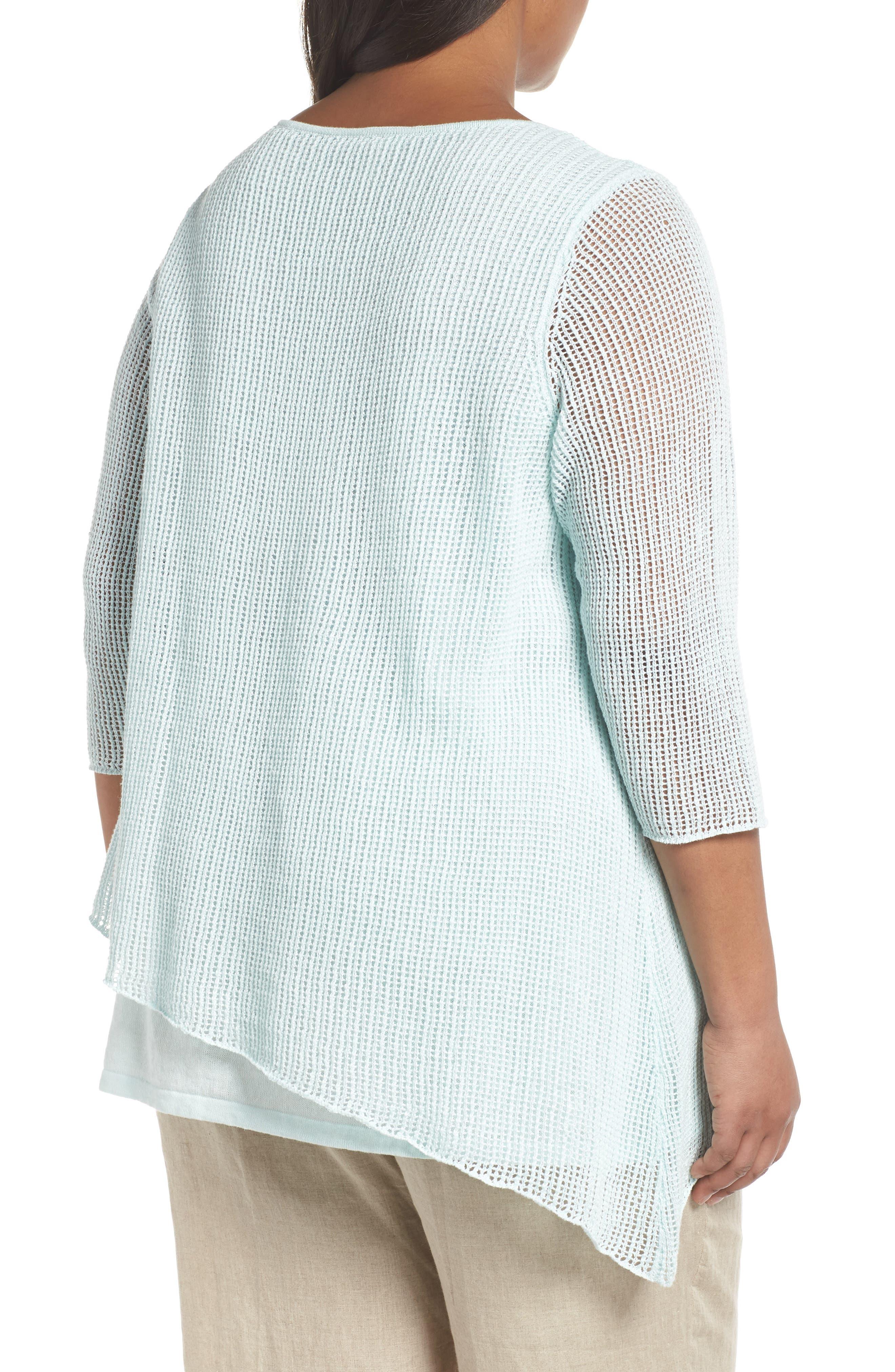 Layered Organic Linen Tunic Sweater,                             Alternate thumbnail 6, color,
