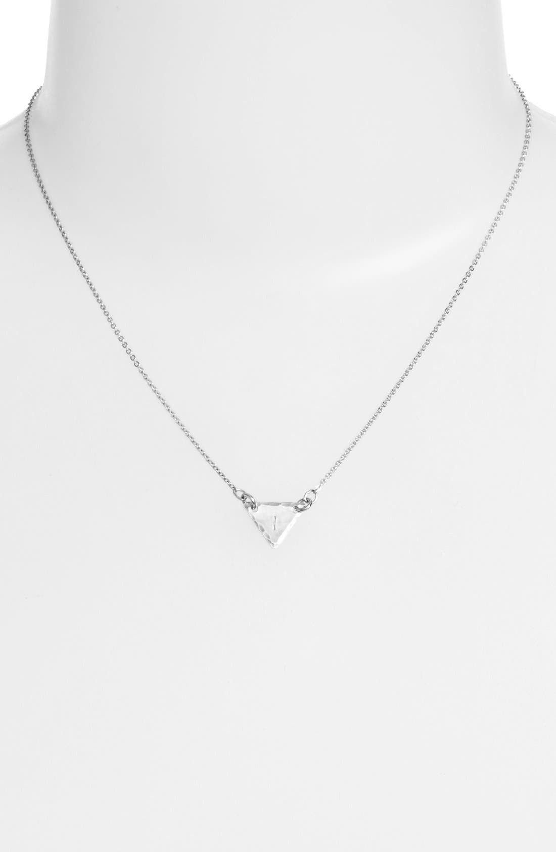 Sterling Silver Initial Mini Triangle Necklace,                             Alternate thumbnail 35, color,