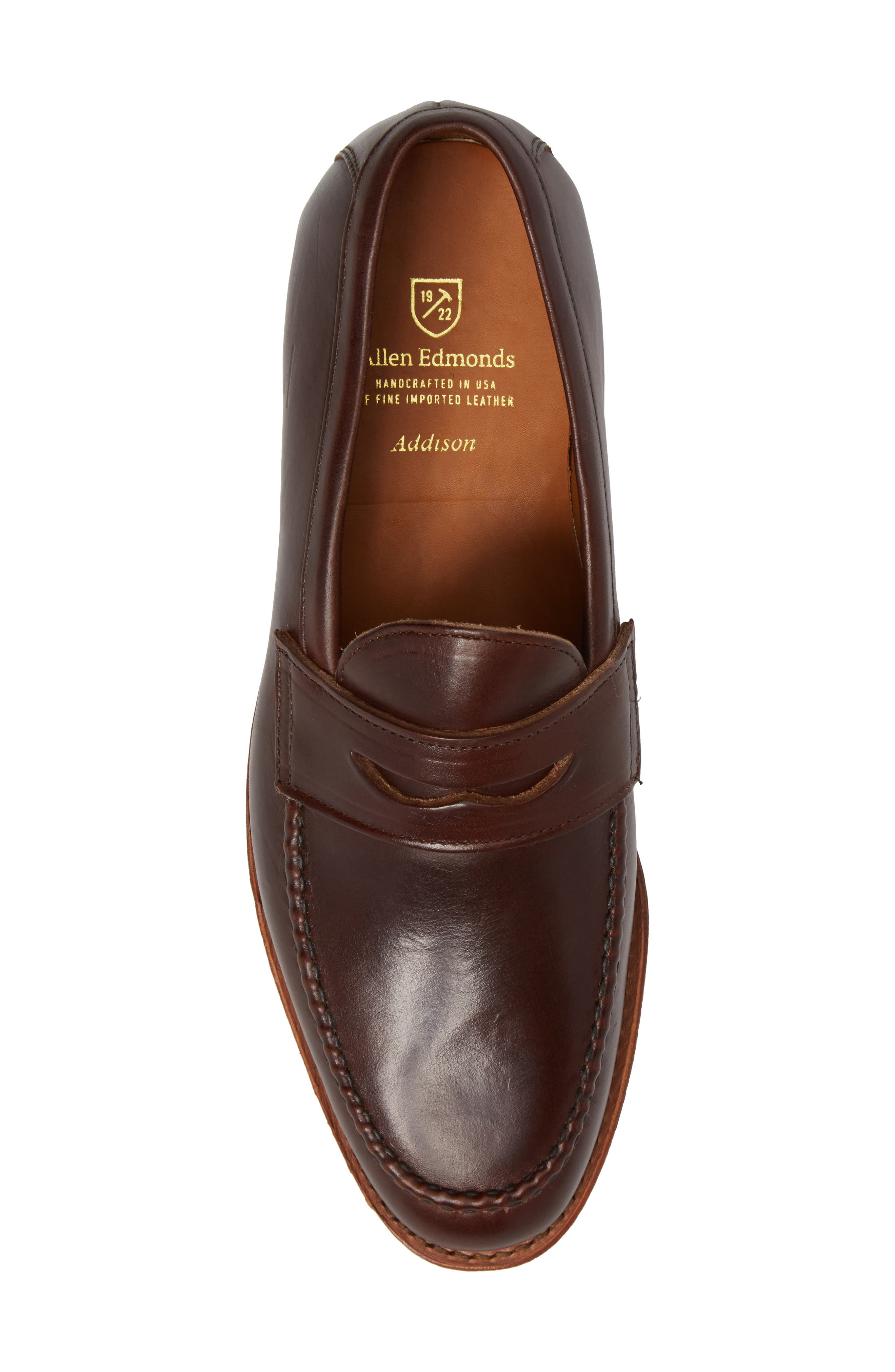 Addison Penny Loafer,                             Alternate thumbnail 5, color,                             BROWN LEATHER