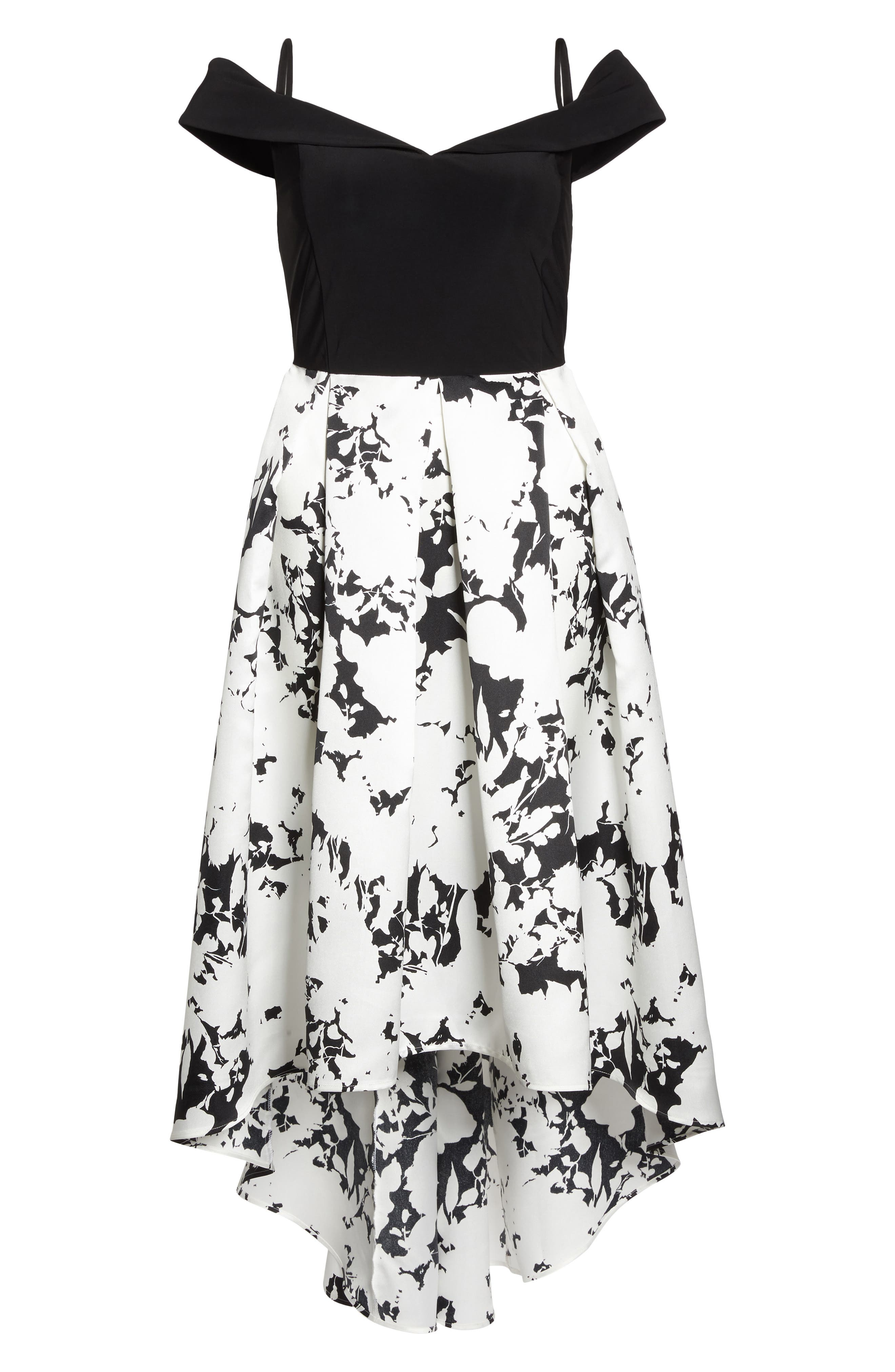 Off the Shoulder Print High/Low Gown,                             Alternate thumbnail 6, color,                             001