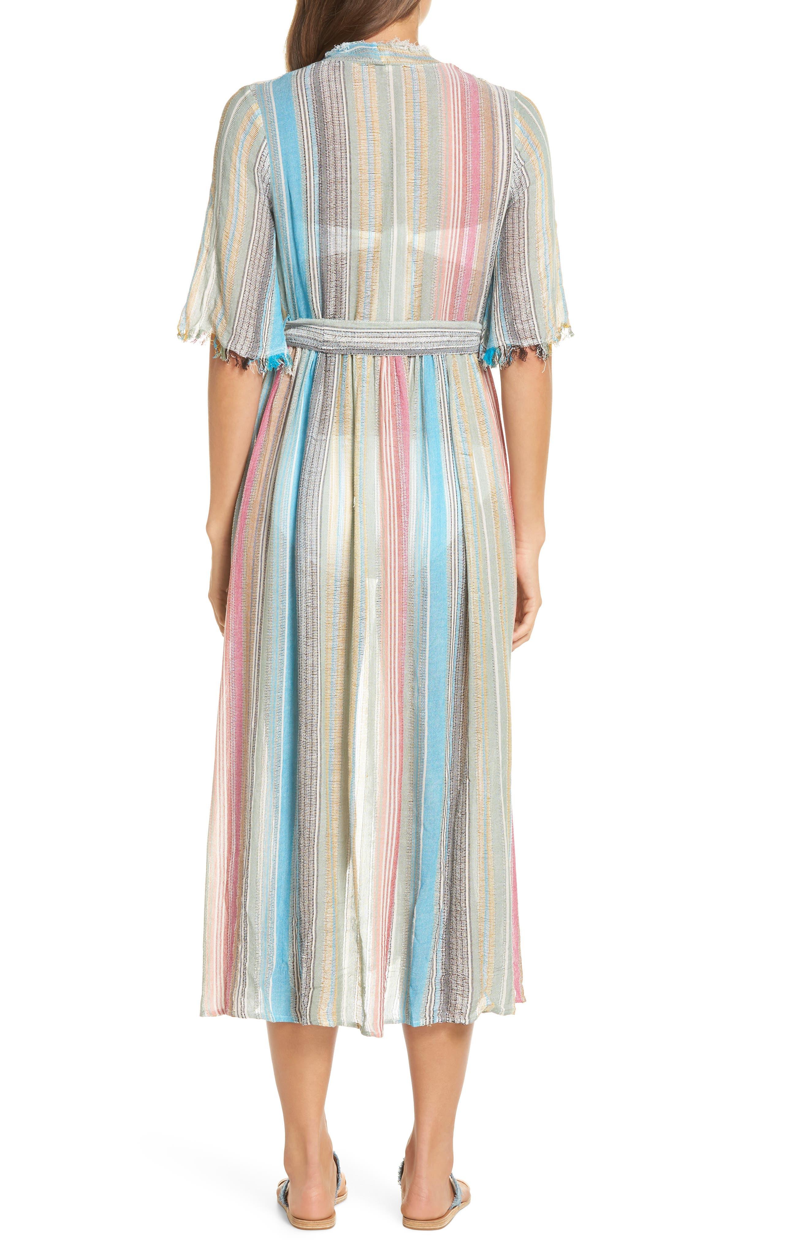 Tie Front Cover-Up Dress,                             Alternate thumbnail 2, color,                             MULTI STRIPE