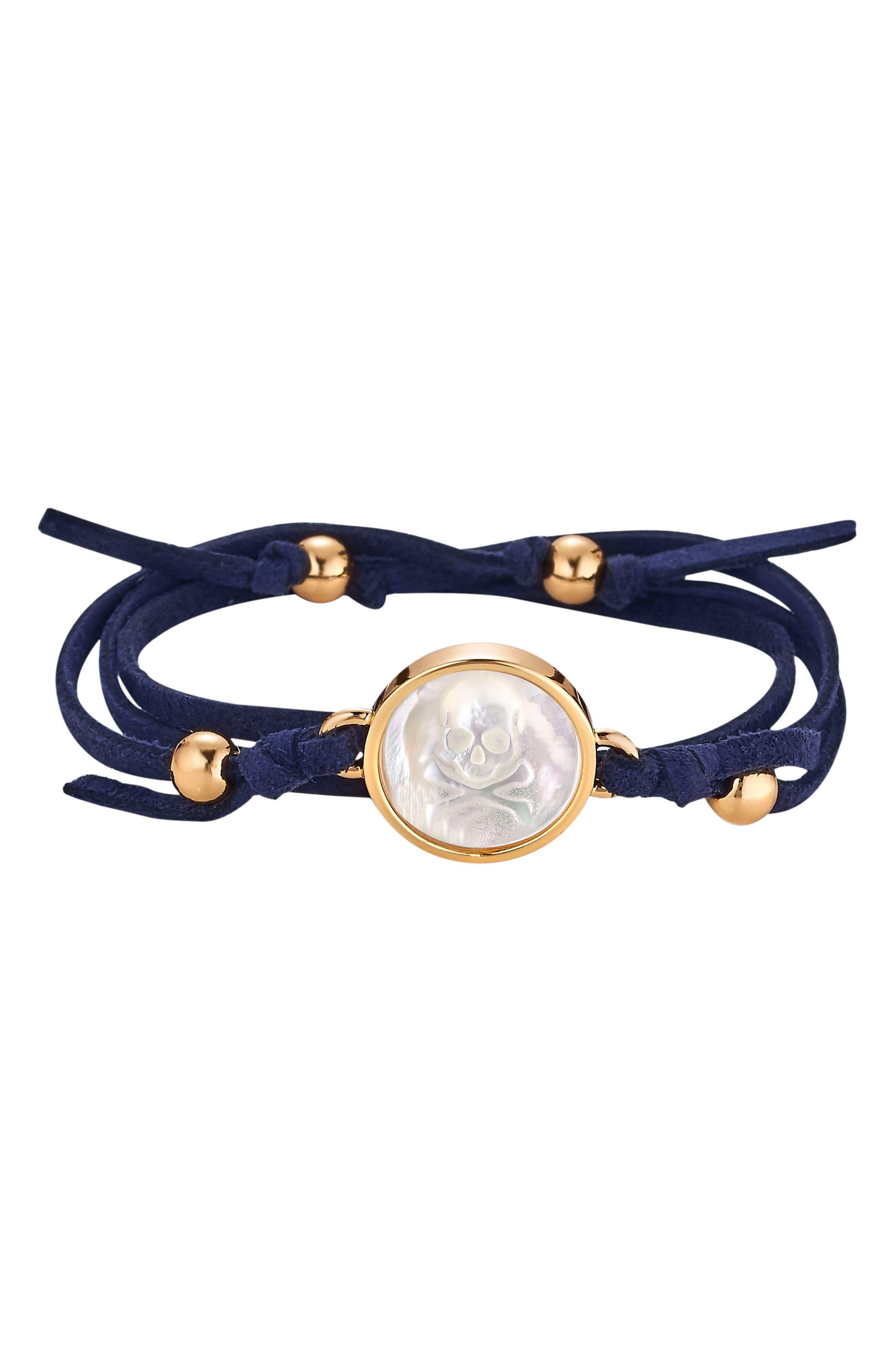 Skull & Bones Suede Wrap Bracelet,                             Main thumbnail 1, color,                             NAVY BLUE SKULL
