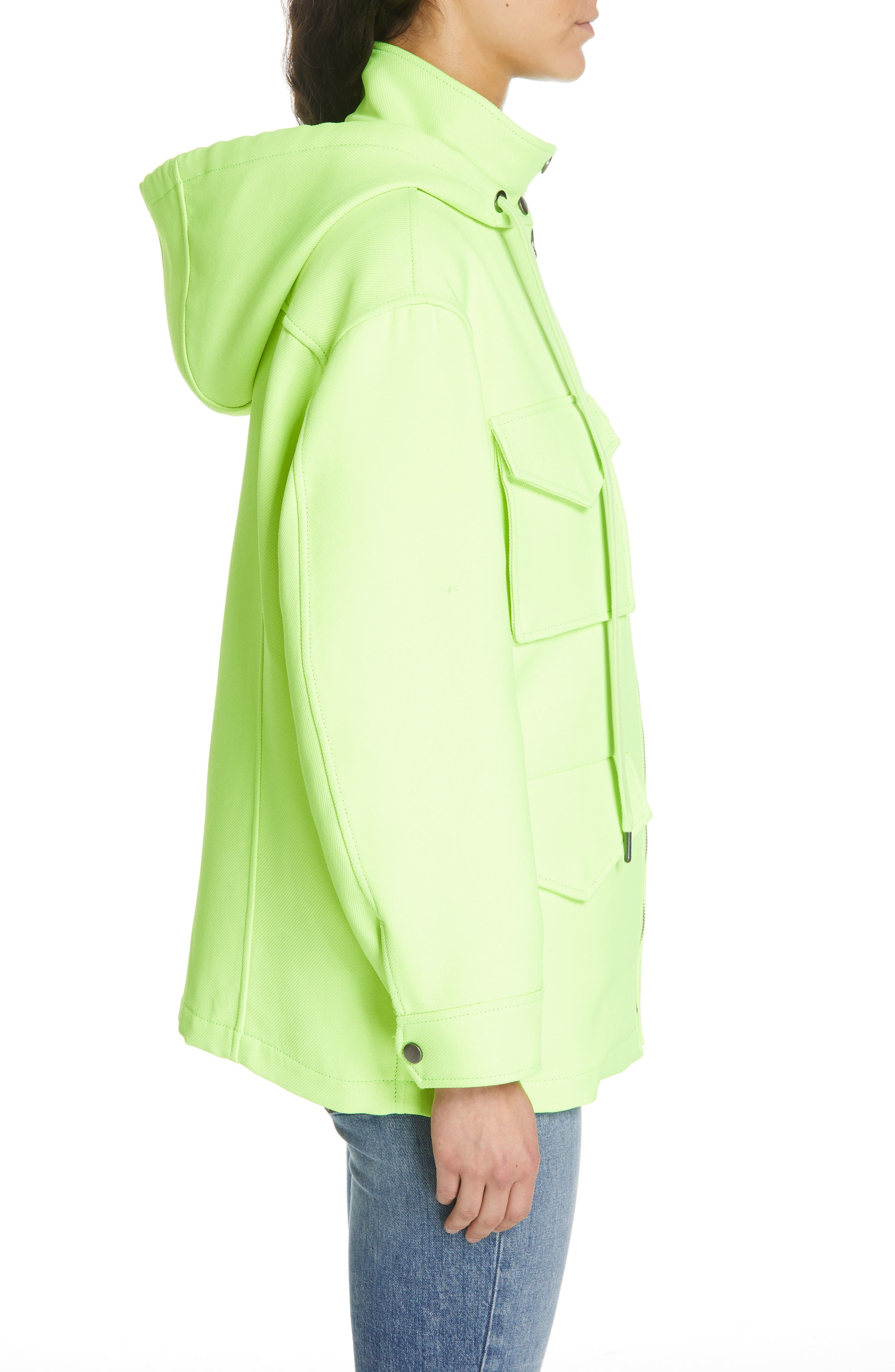 ALICE + OLIVIA,                             Russo Hooded Jacket,                             Alternate thumbnail 3, color,                             NEON YELLOW