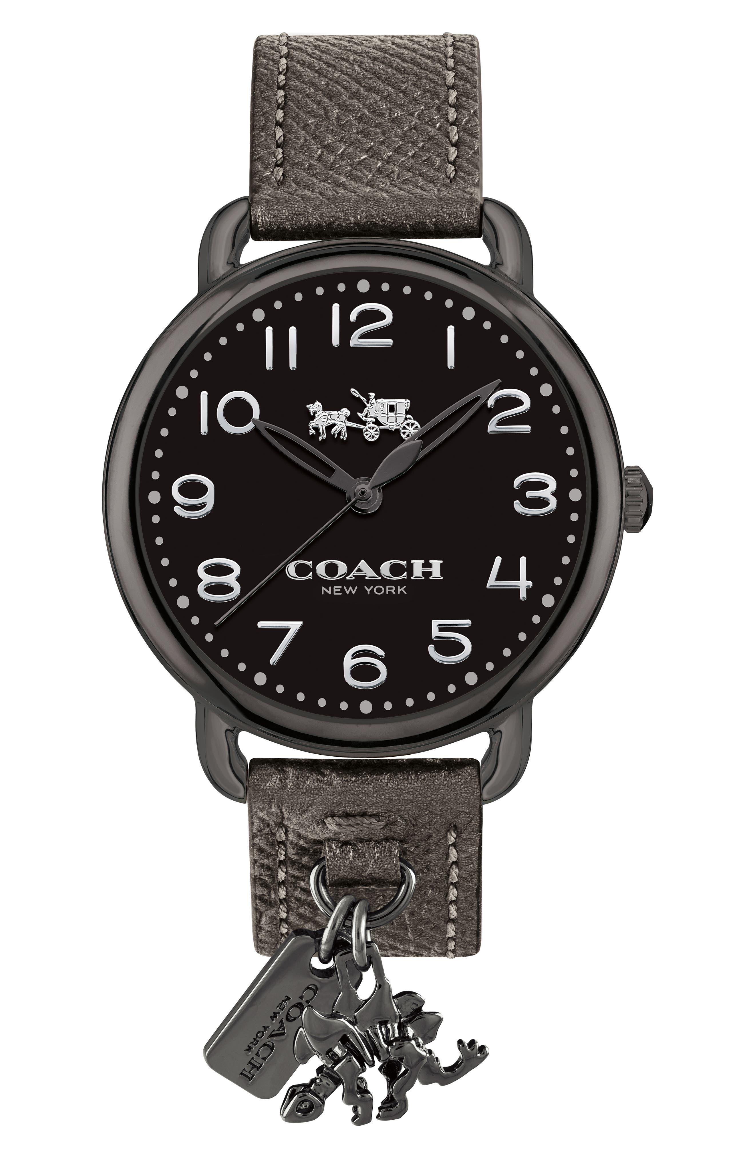 Delancey Charm Detail Leather Strap Watch, 36mm,                             Main thumbnail 1, color,                             METALLIC/ BLACK/ GUNMETAL