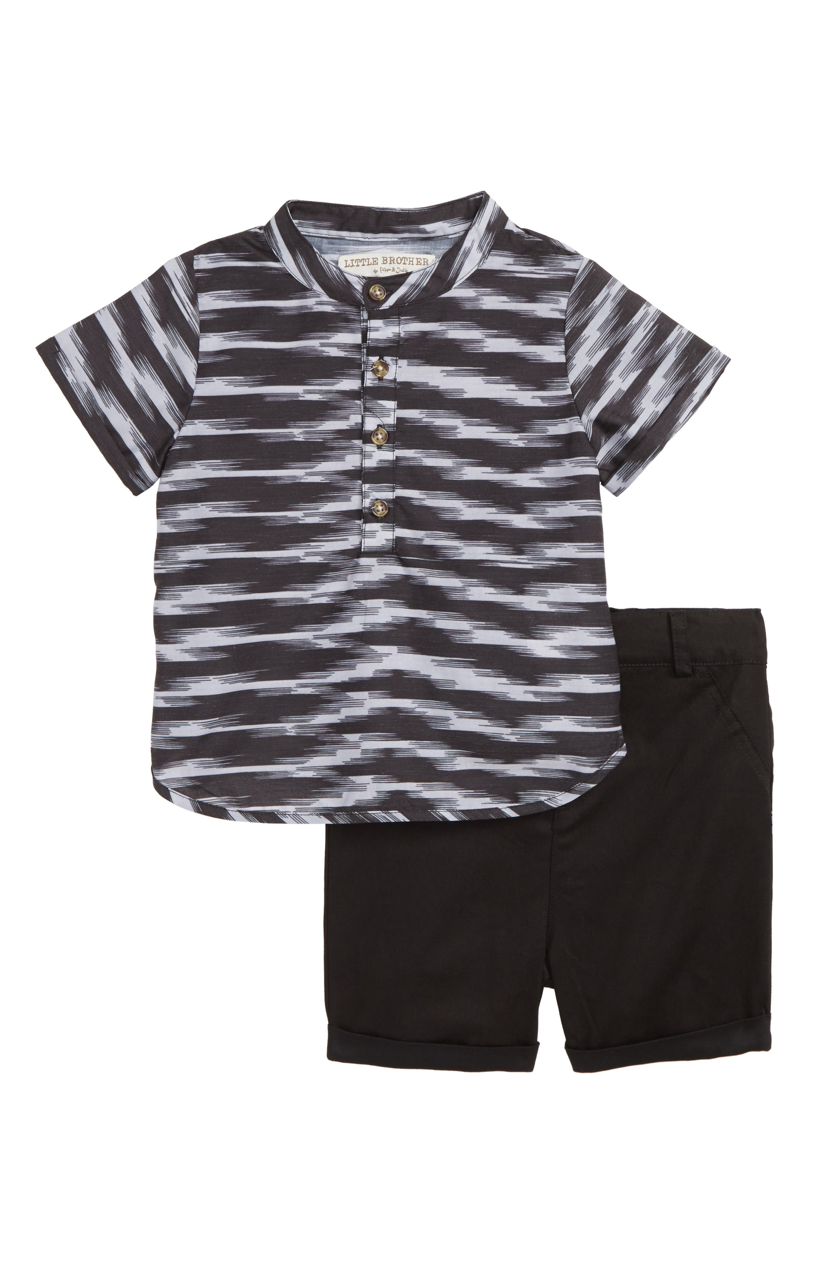 Woven Shirt & Shorts Set,                             Main thumbnail 1, color,                             001