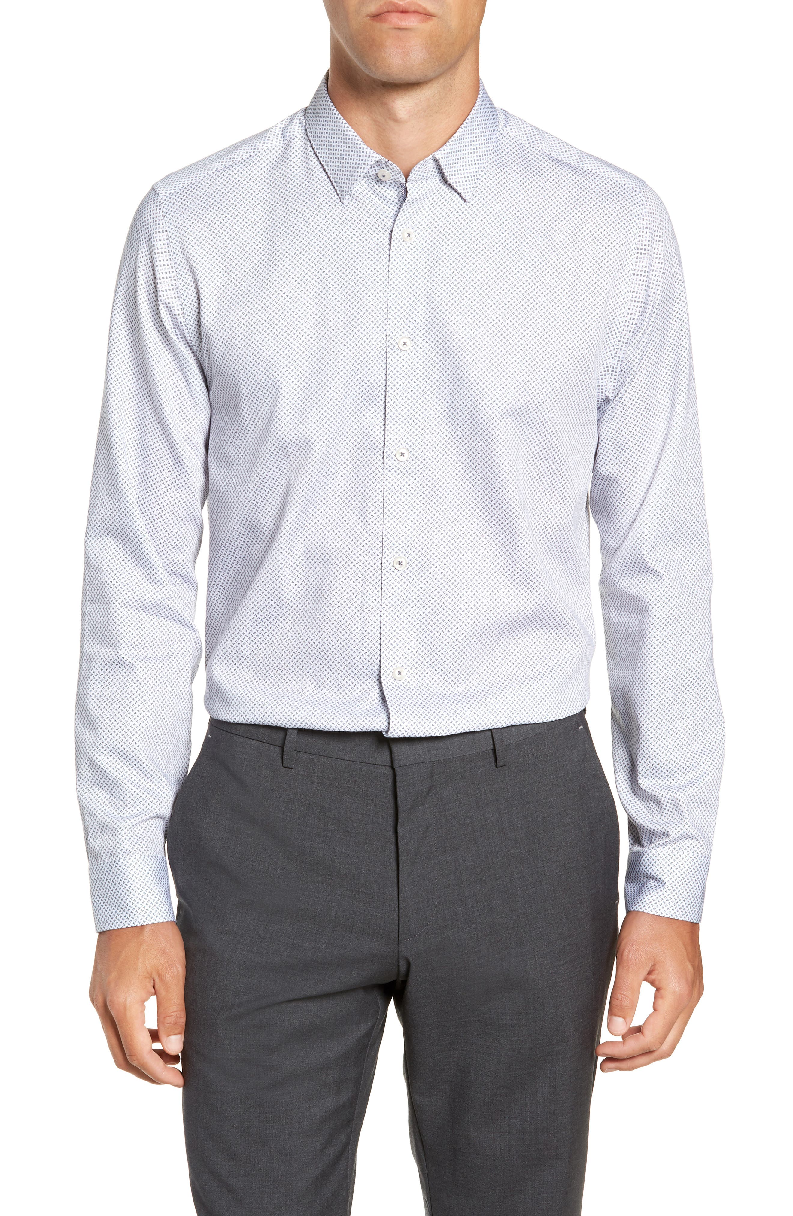 Aspara Modern Fit Geometric Dress Shirt,                             Main thumbnail 1, color,                             WHITE/ NAVY