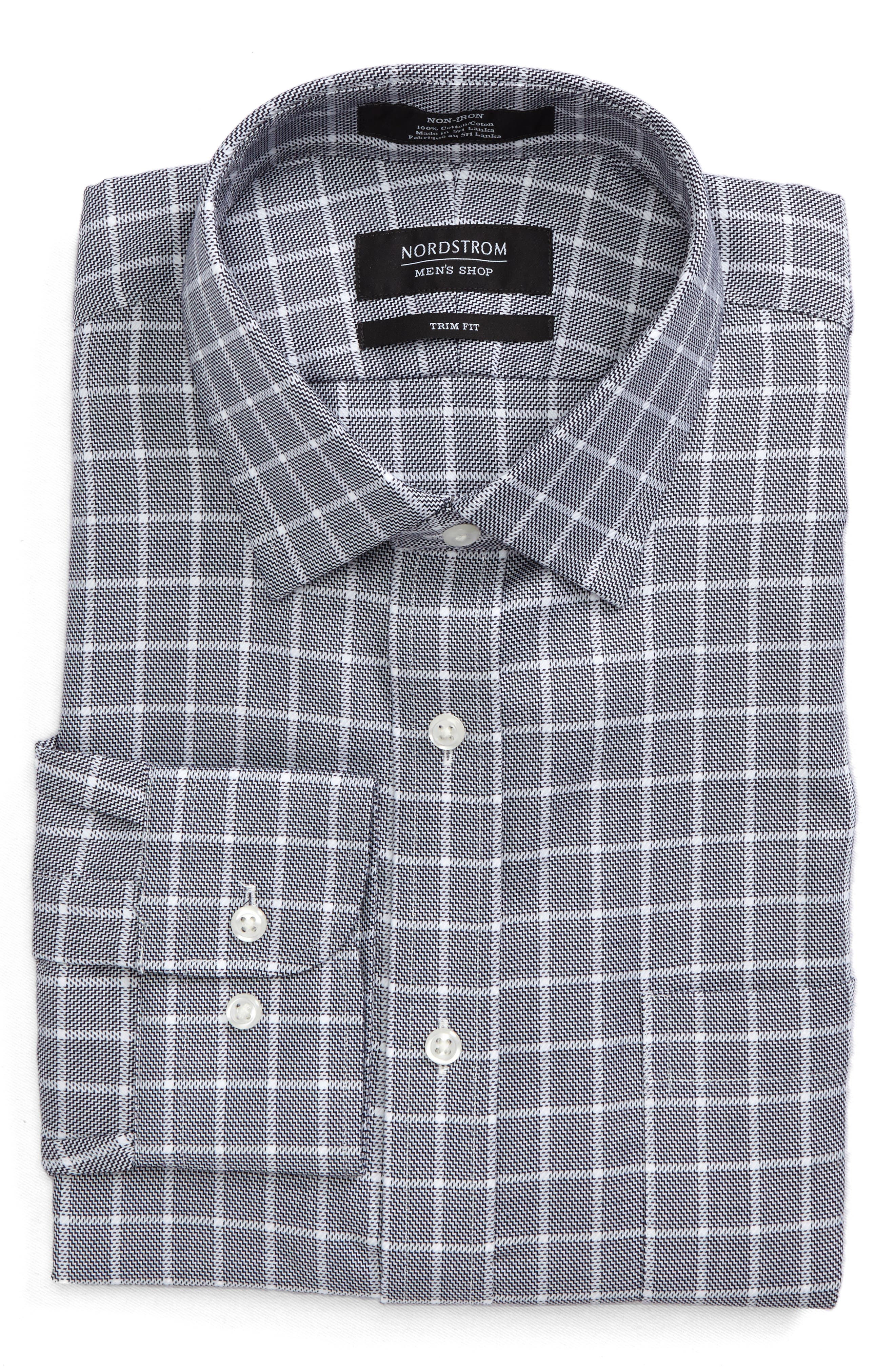 NORDSTROM MEN'S SHOP,                             Trim Fit Non-Iron Check Dress Shirt,                             Alternate thumbnail 5, color,                             001