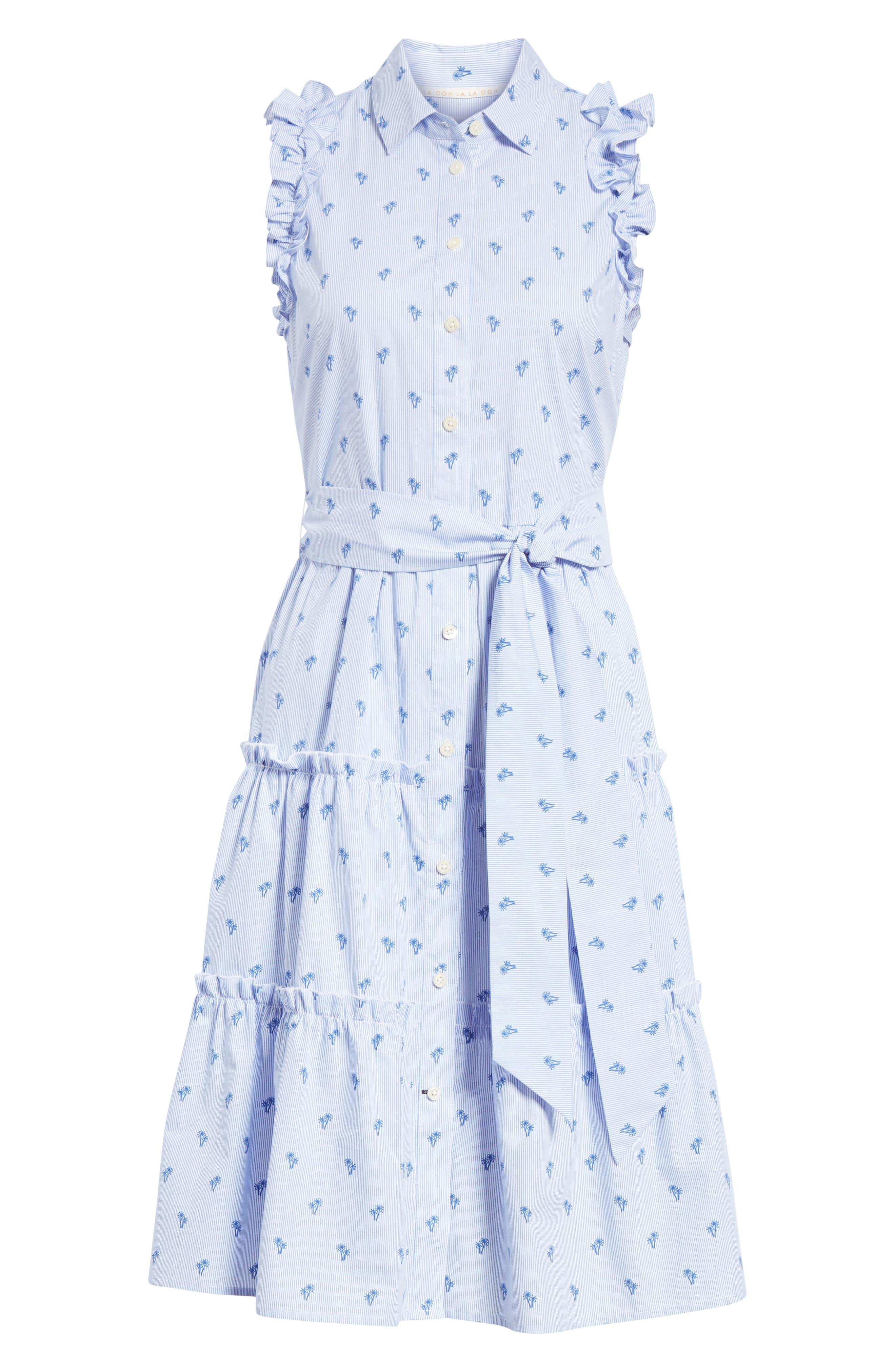 palm tree pinstripe sleeveless cotton dress,                             Alternate thumbnail 6, color,                             436