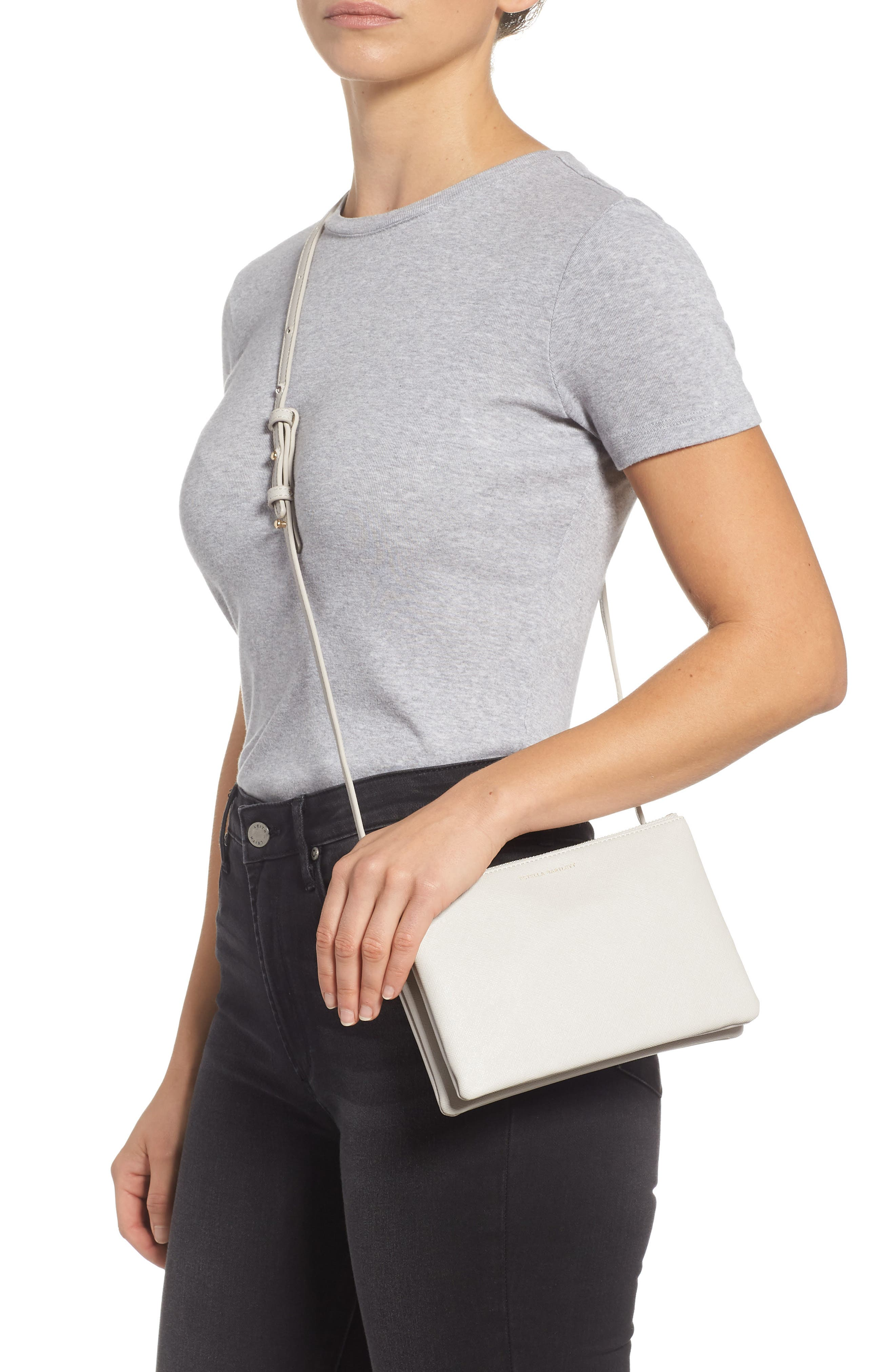 Double Faux Leather Crossbody Bag,                             Alternate thumbnail 2, color,                             GREY