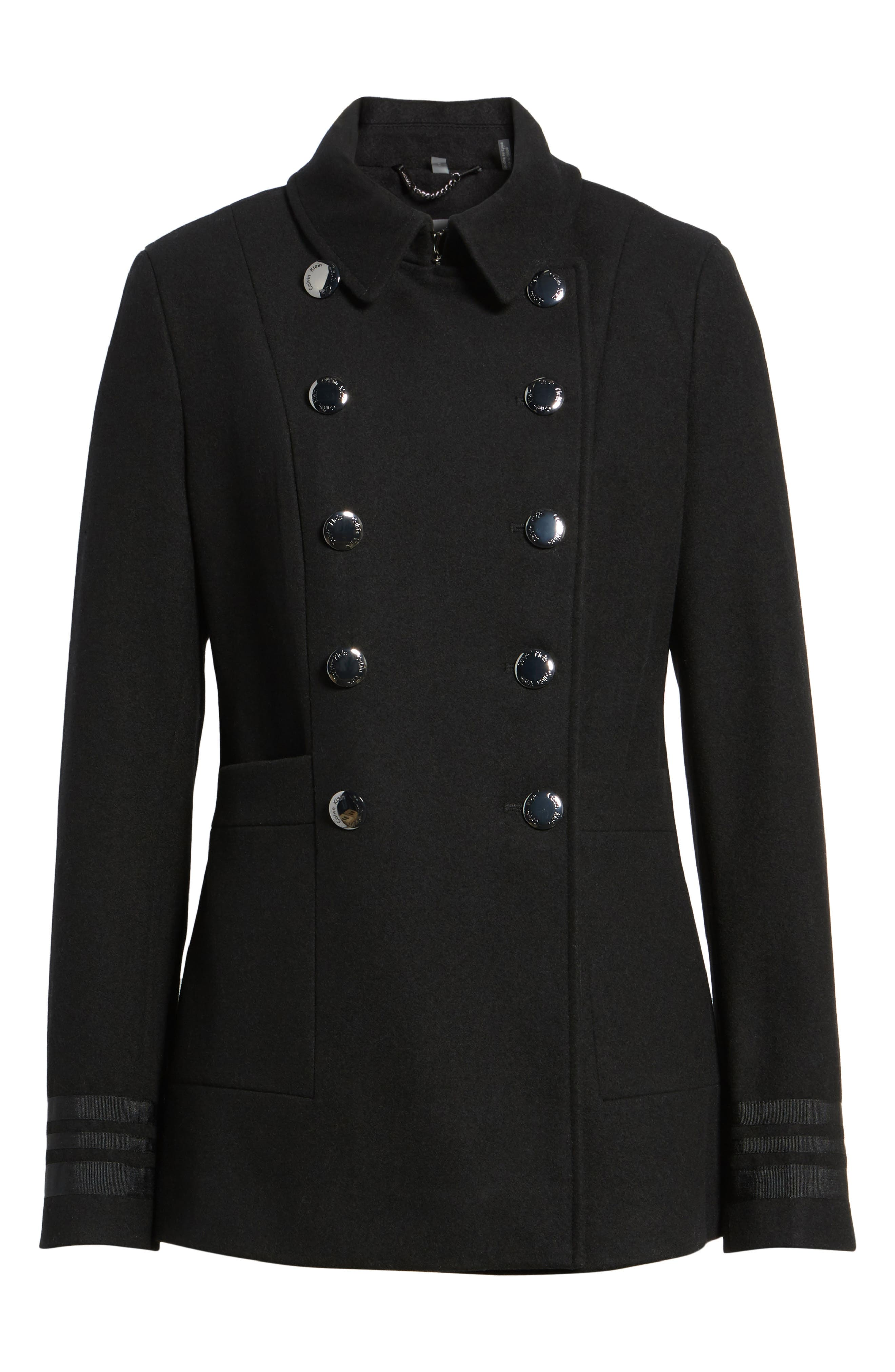 Grosgrain Double-Breasted Peacoat,                             Alternate thumbnail 5, color,                             001