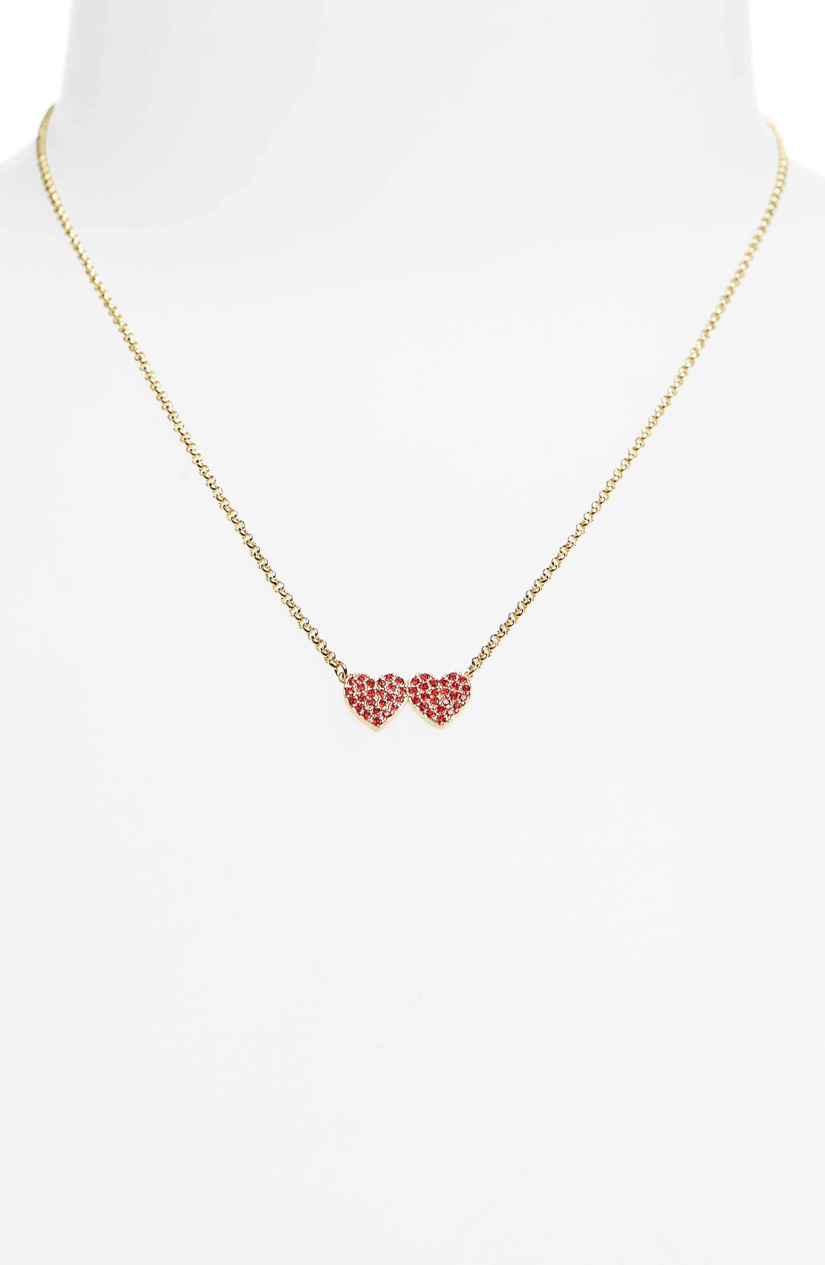 yours truly pavé heart pendant necklace,                             Alternate thumbnail 2, color,                             RED
