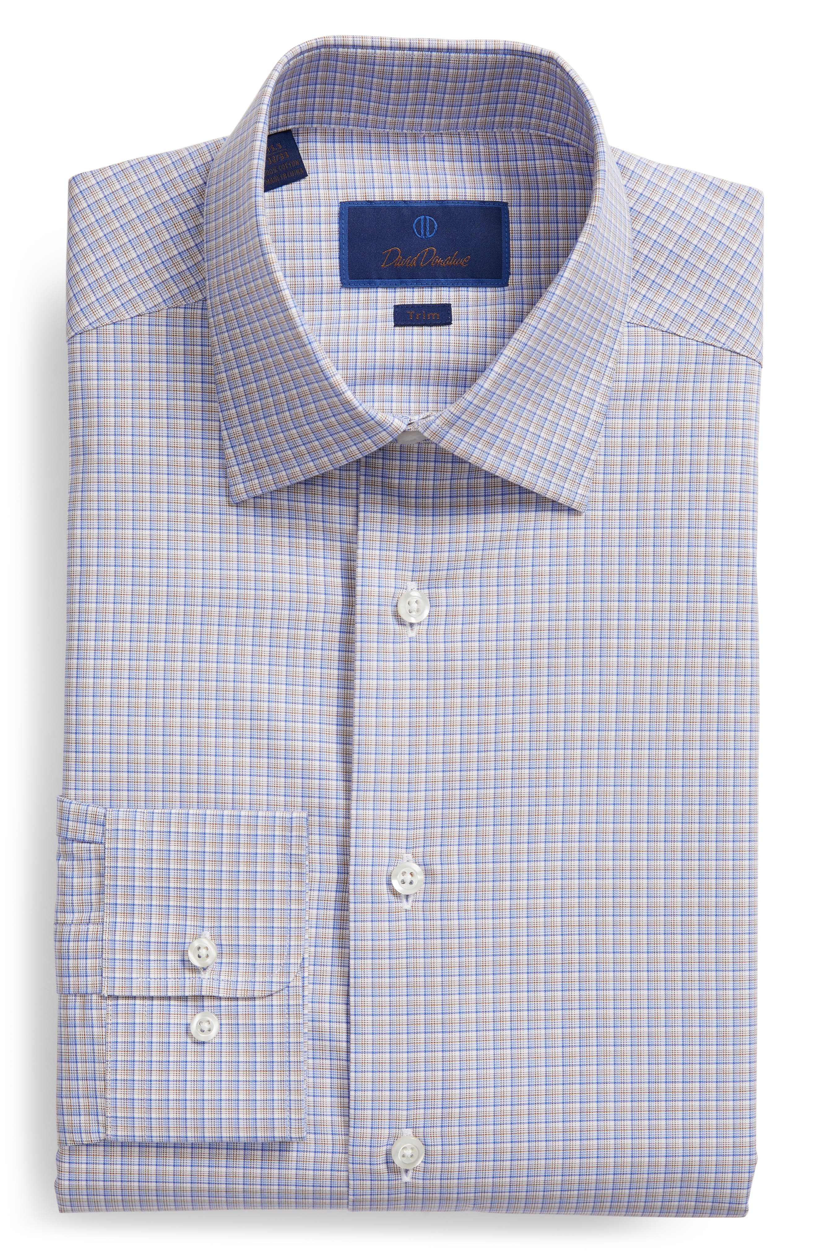 Trim Fit Check Dress Shirt,                             Alternate thumbnail 5, color,                             CHOCOLATE