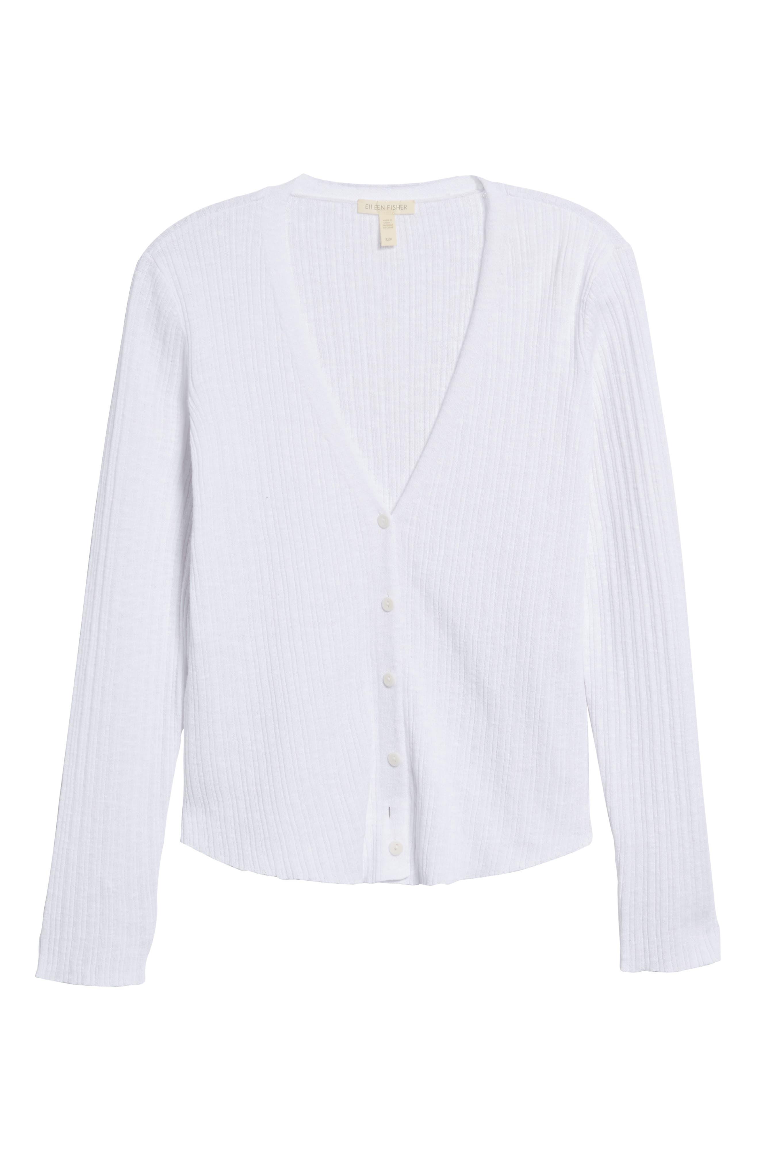 V-Neck Organic Linen & Cotton Cardigan,                             Alternate thumbnail 6, color,                             100