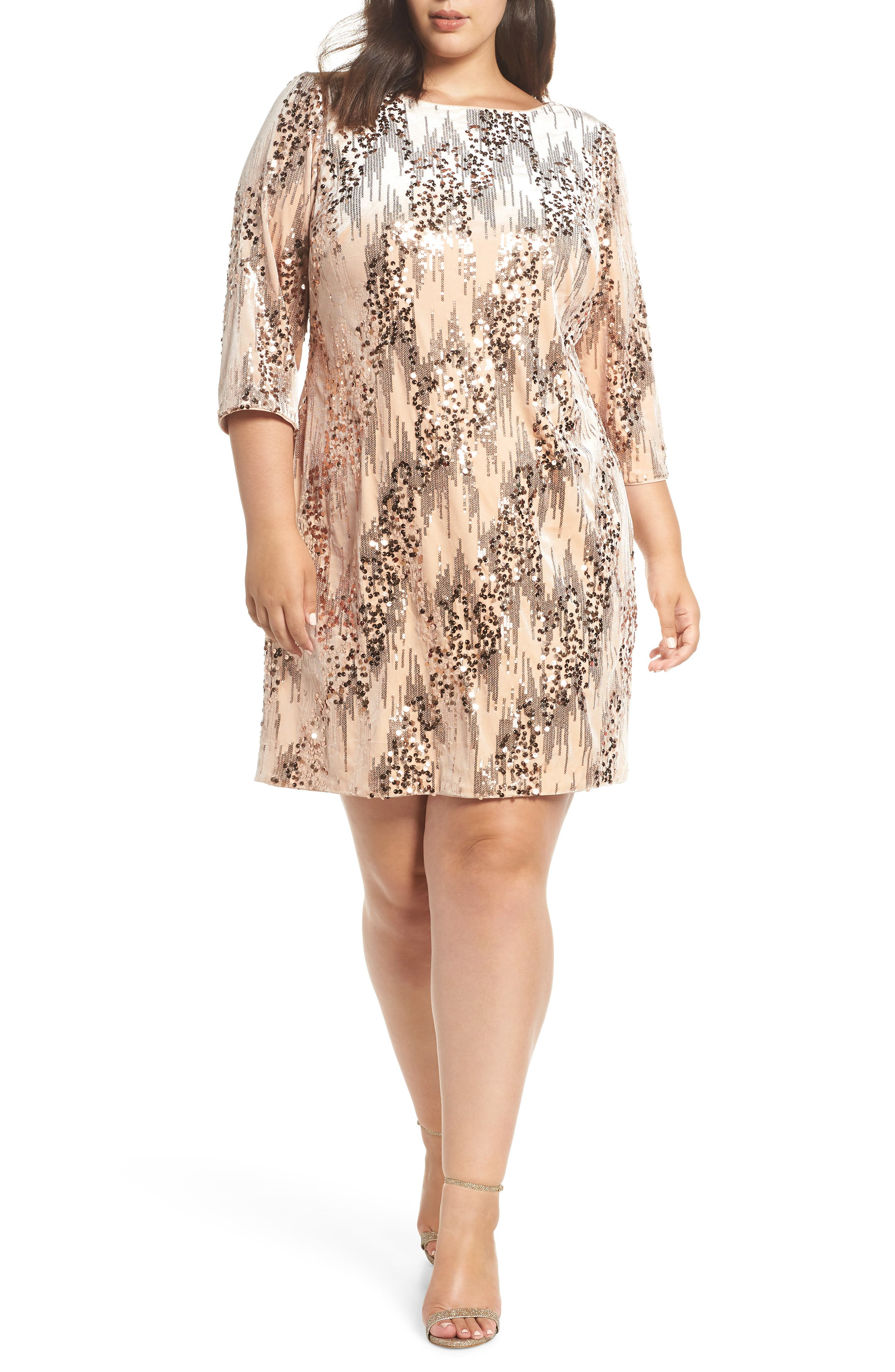 Plus Size Eliza J Sequin Velvet Shift Dress, Pink