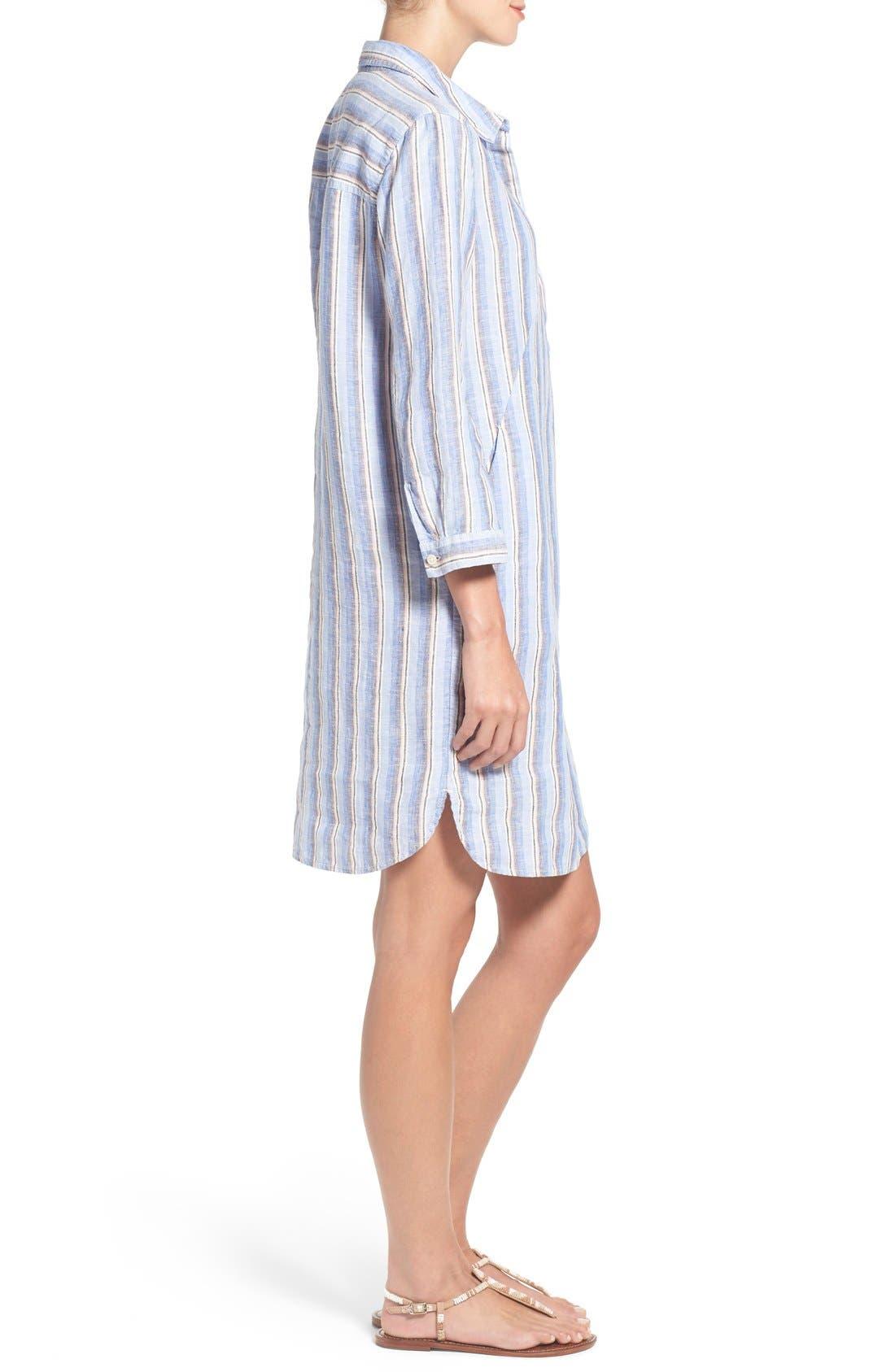 Linen Shirtdress,                             Alternate thumbnail 3, color,                             420