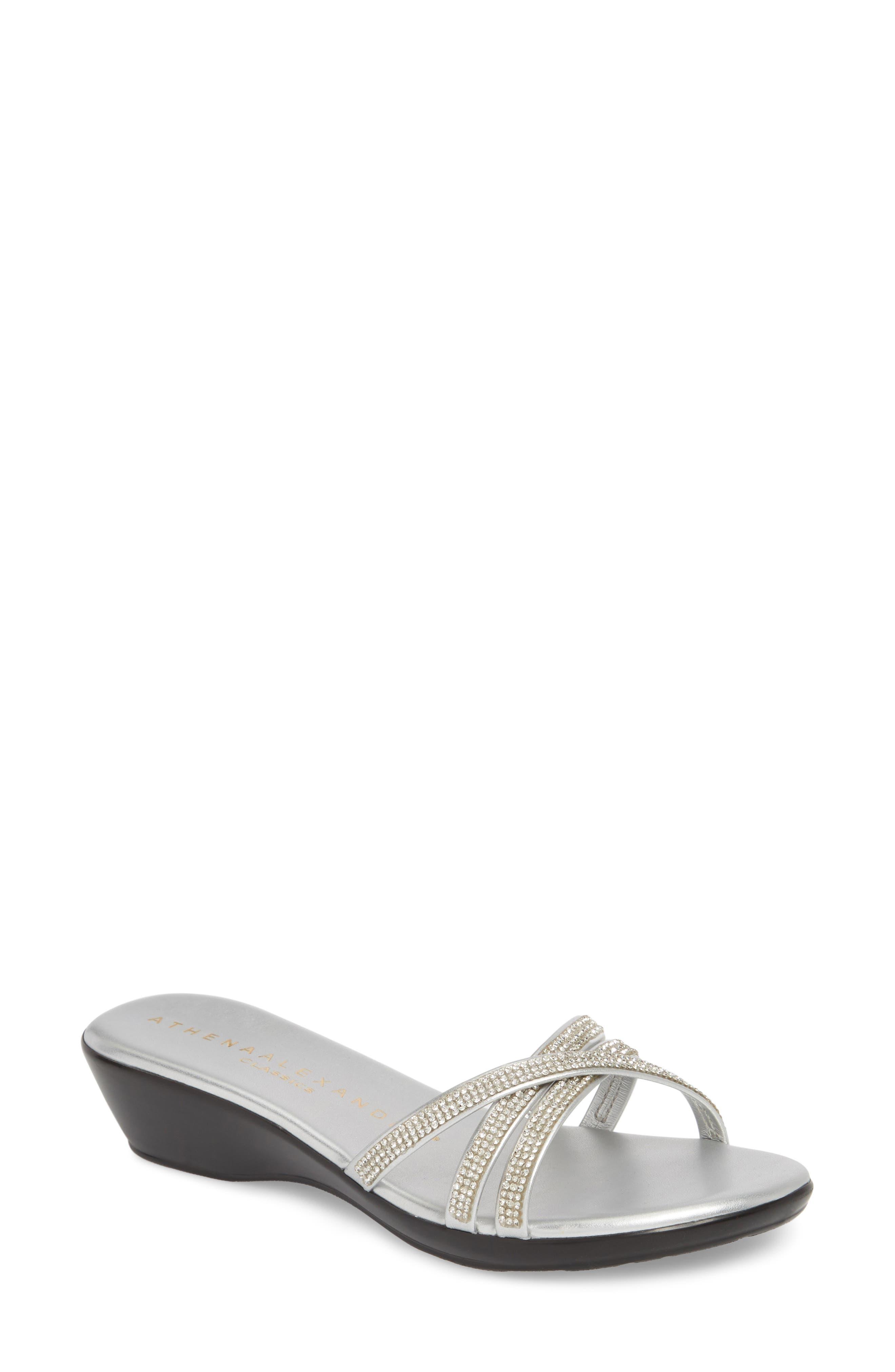 Harlow Slide Sandal,                         Main,                         color, SILVER FABRIC