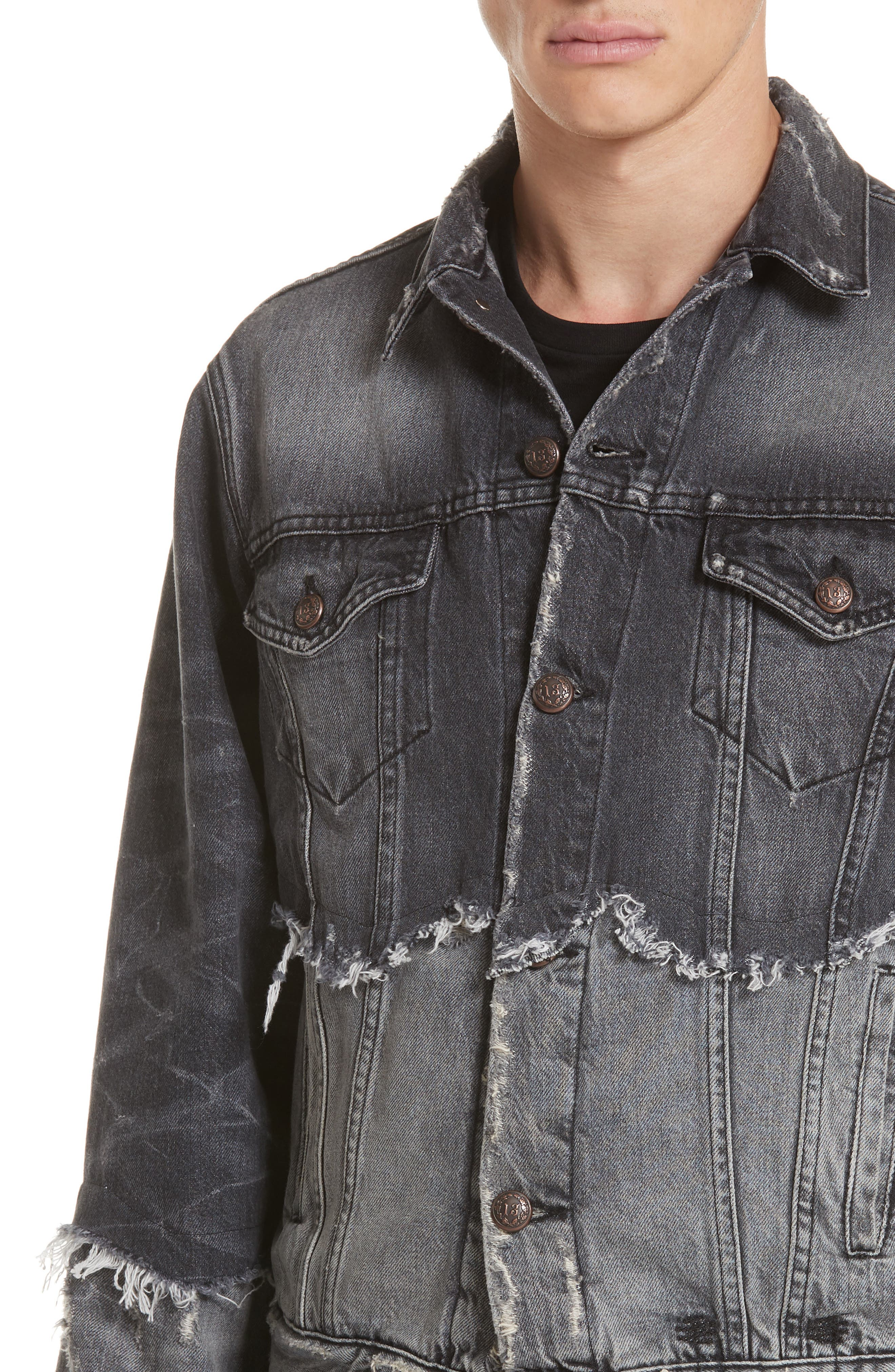 Shredded Two-Tone Denim Jacket,                             Alternate thumbnail 4, color,                             001