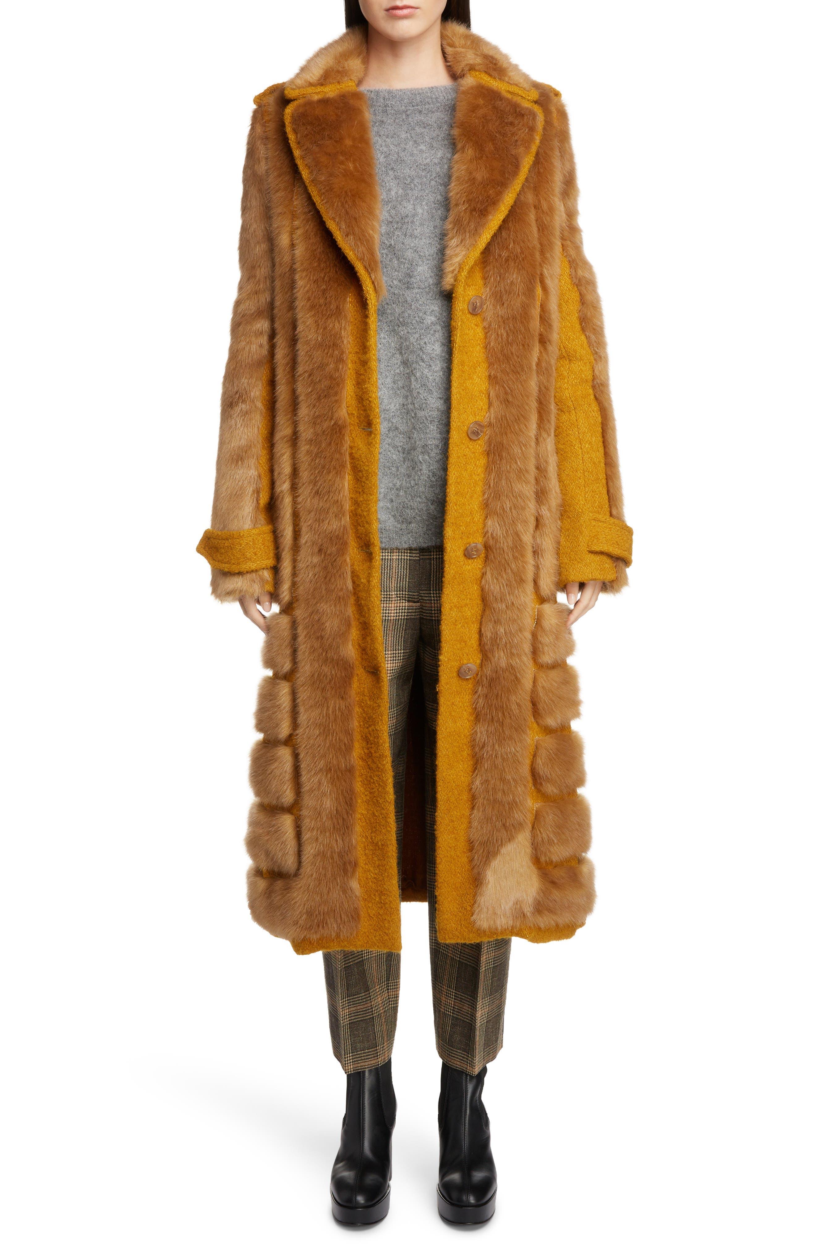 Faux Fur Trim Coat,                             Main thumbnail 1, color,                             SAFFRON ORANGE