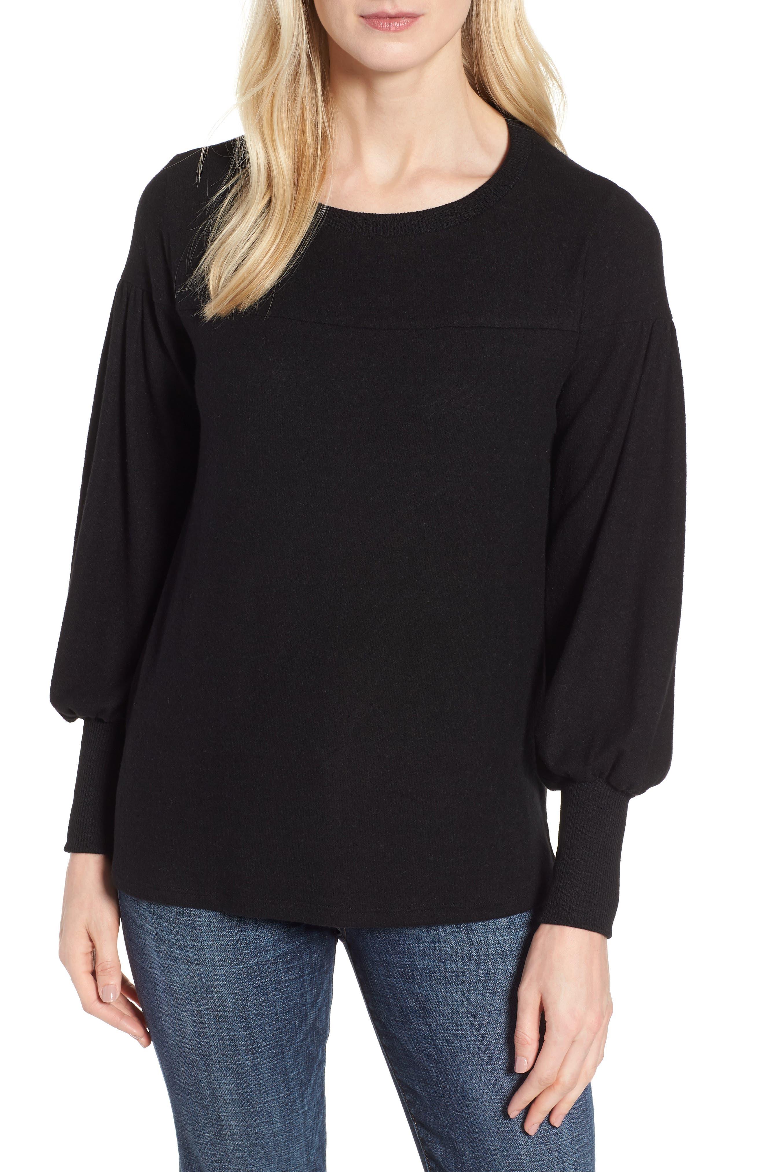 Blouson Sleeve Cozy Fleece Pullover,                         Main,                         color, BLACK