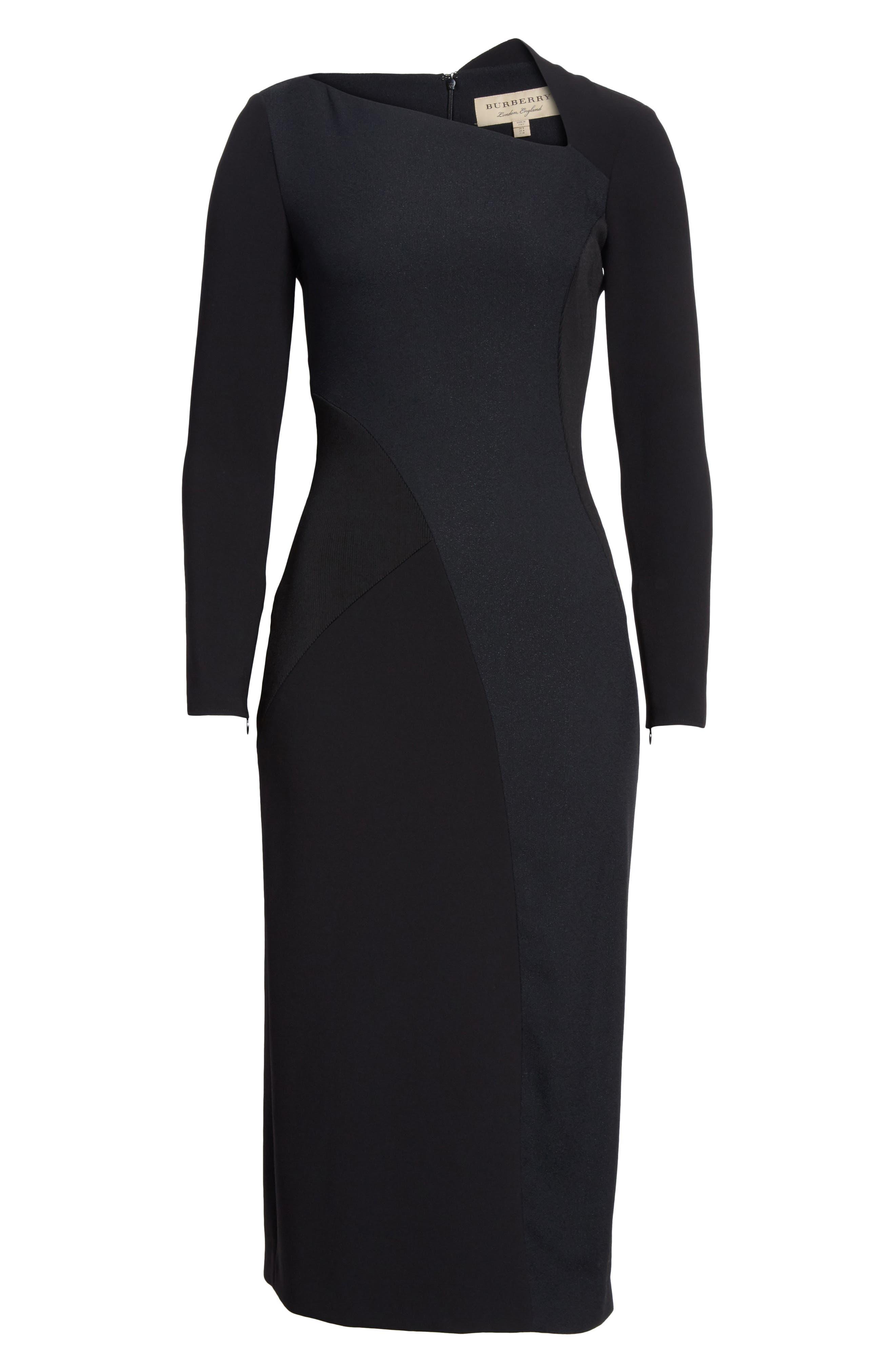 Fabiana Slash Neck Panel Dress,                             Alternate thumbnail 6, color,                             001
