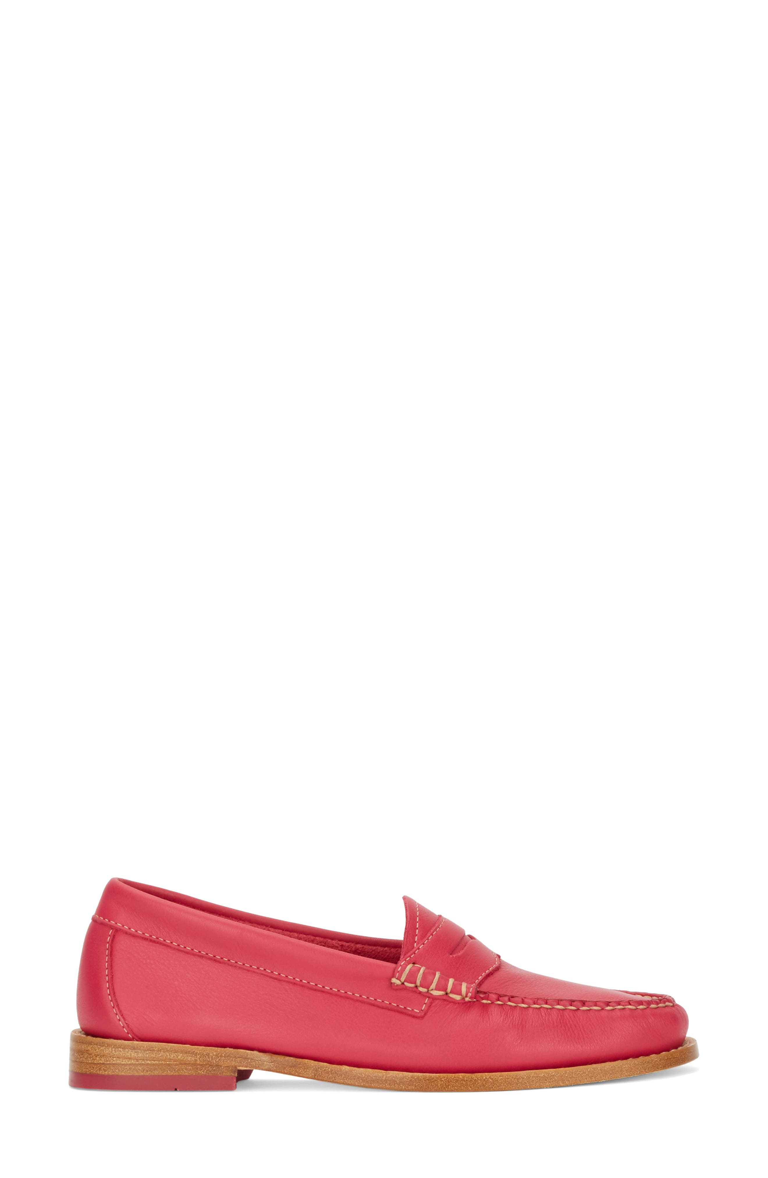 'Whitney' Loafer,                             Alternate thumbnail 3, color,                             BERRY PINK LEATHER