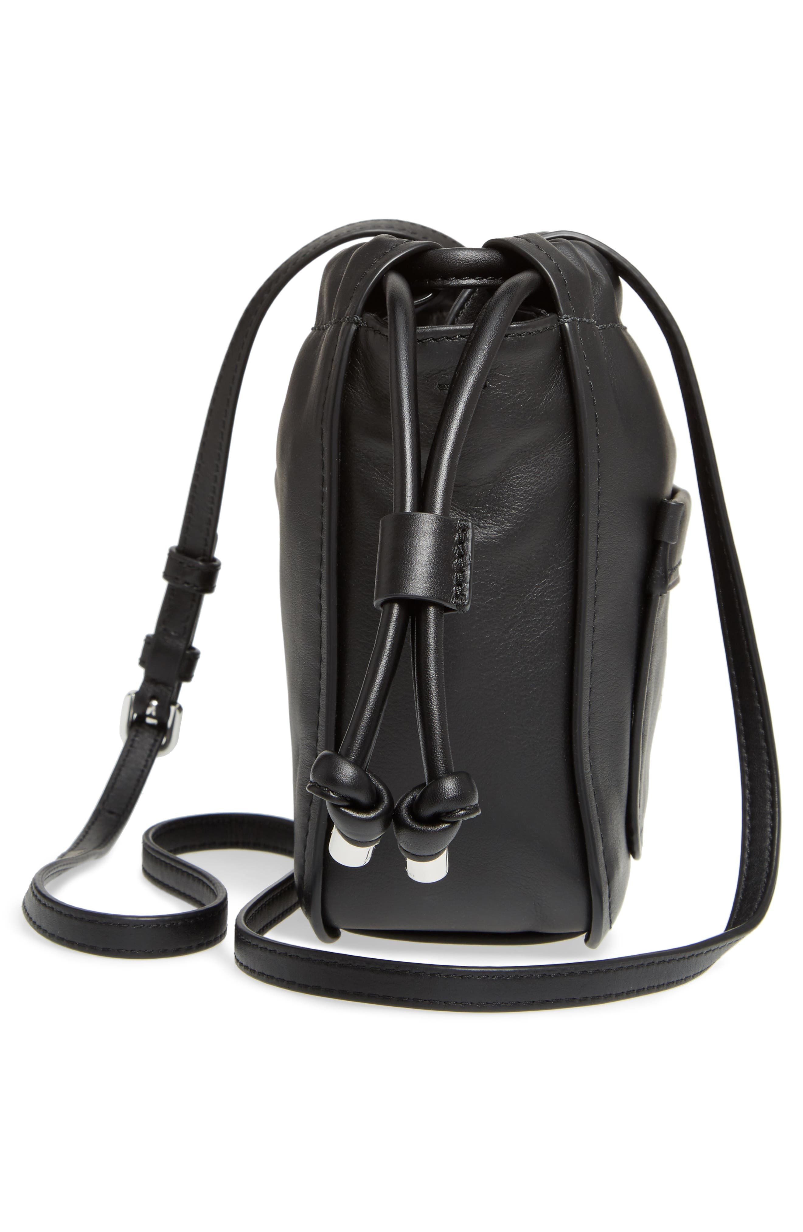 Tied Up Leather Crossbody Bag,                             Alternate thumbnail 5, color,                             001
