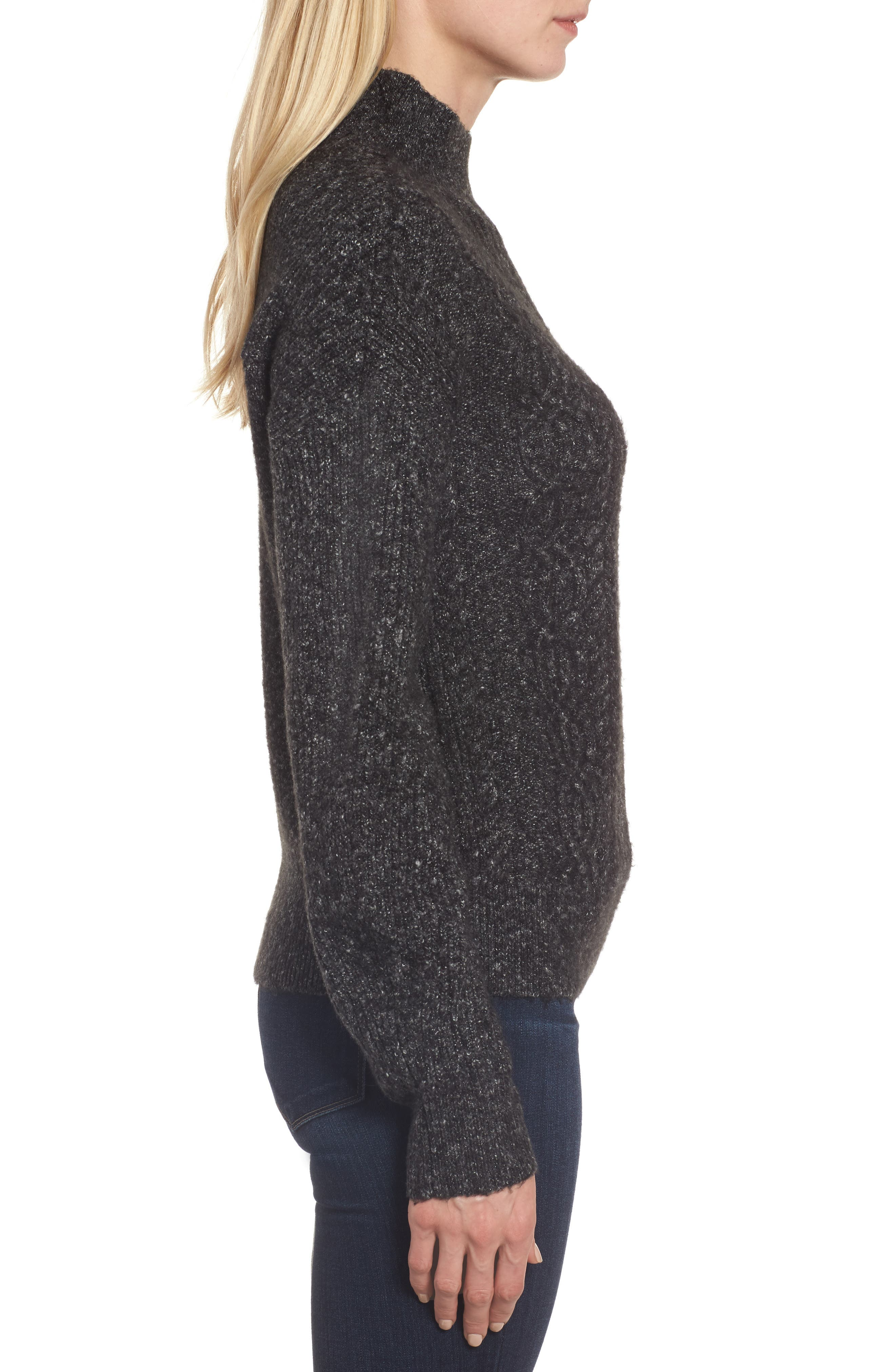 Mock Neck Cable Knit Sweater,                             Alternate thumbnail 3, color,                             030