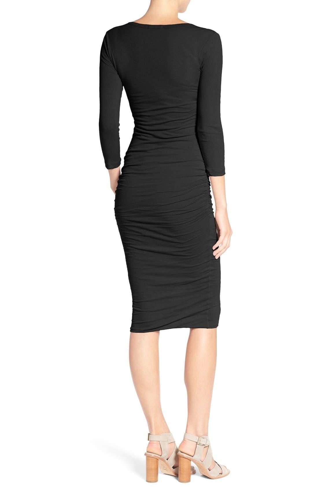 V-Neck Ruched Dress,                             Alternate thumbnail 3, color,                             001