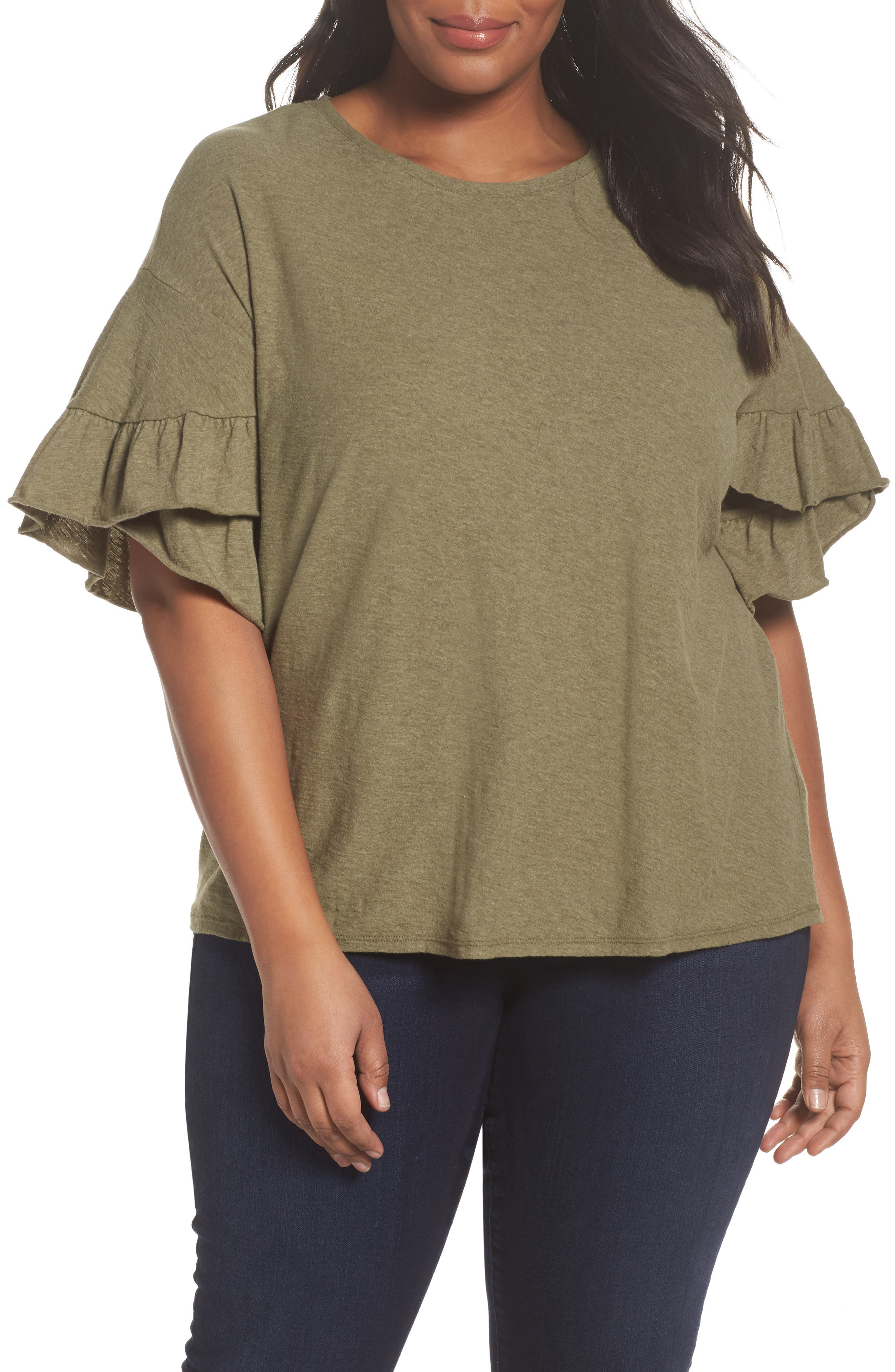 Drop Shoulder Tiered Ruffle Sleeve Top,                         Main,                         color,