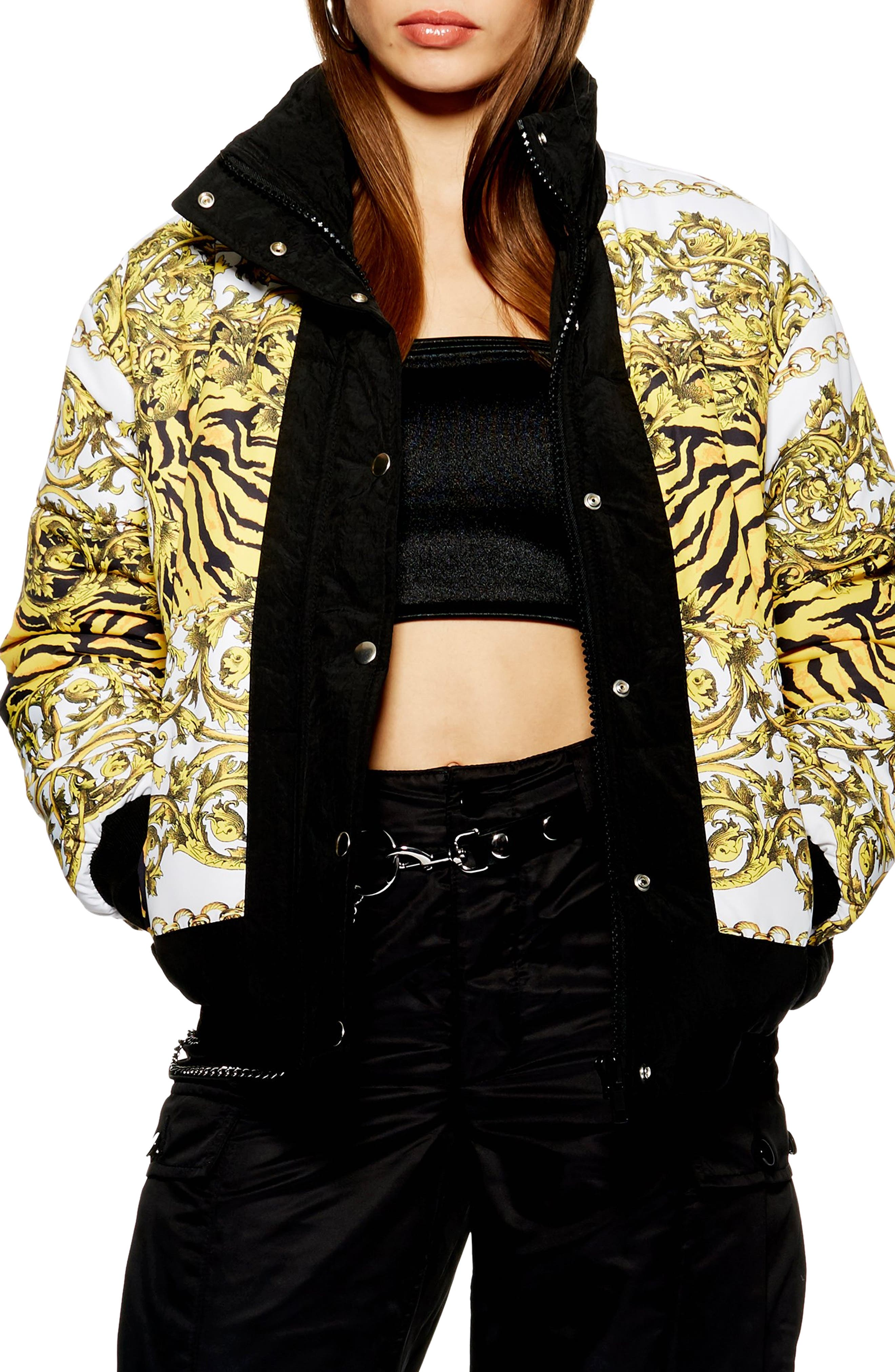Chain Print Puffer Jacket, Main, color, 001