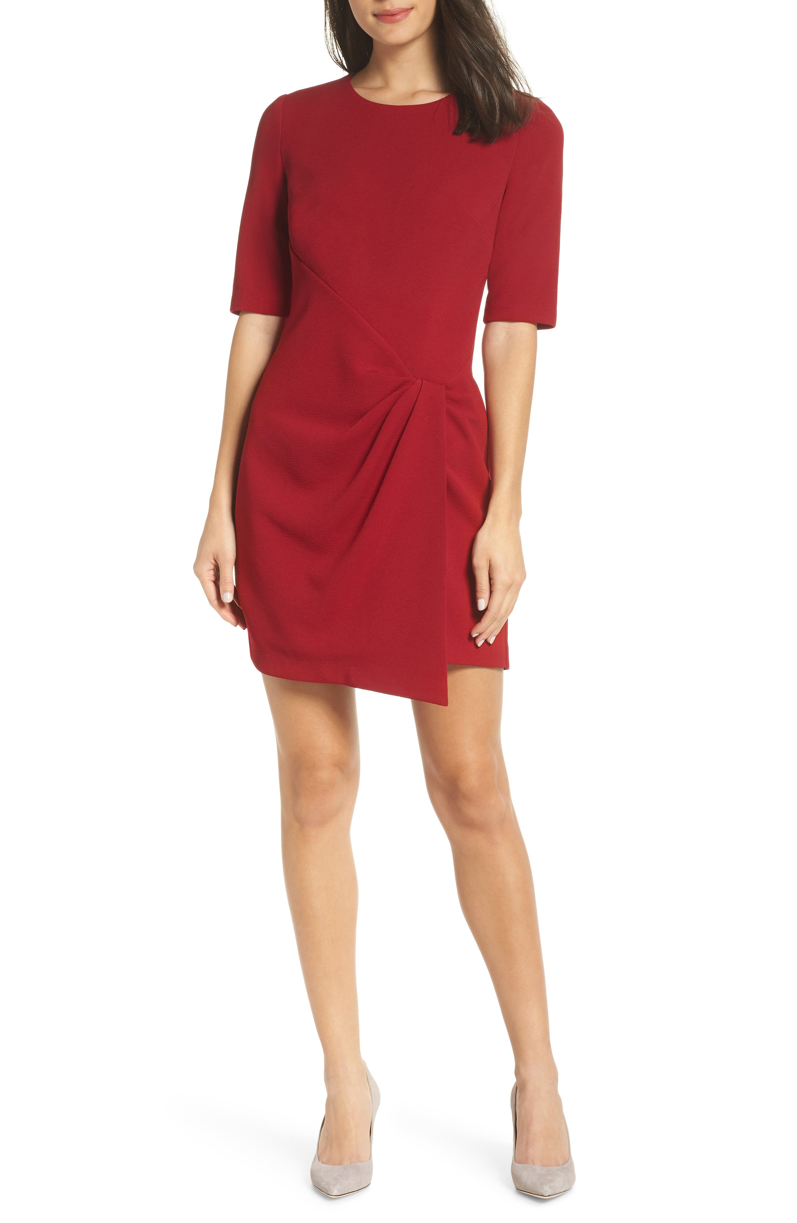 MAGGY LONDON Wrap Front Sheath Dress in Red