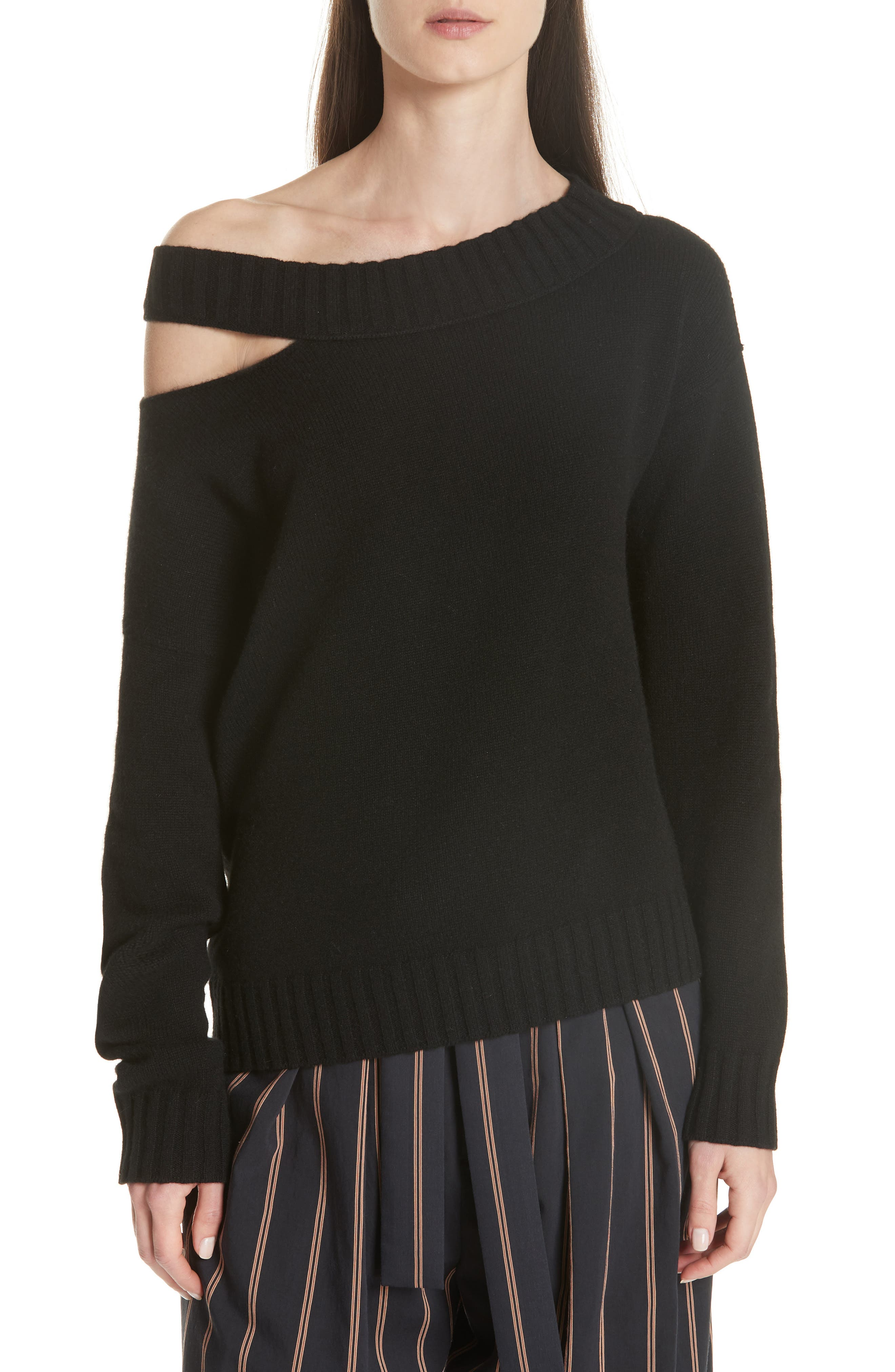 One Shoulder Slit Pullover Sweater,                             Main thumbnail 1, color,                             001